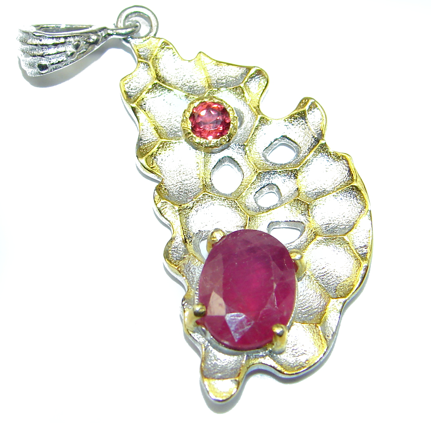 Vintage Style Ruby 14k Gold over .925 Sterling Silver handmade Pendant