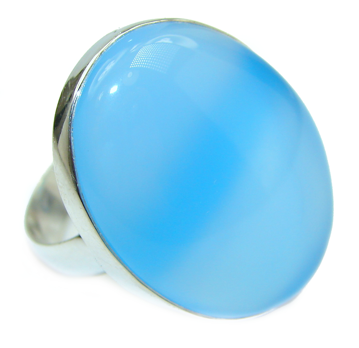 Blue Chalcedony Agate .925 Sterling Silver handcrafted