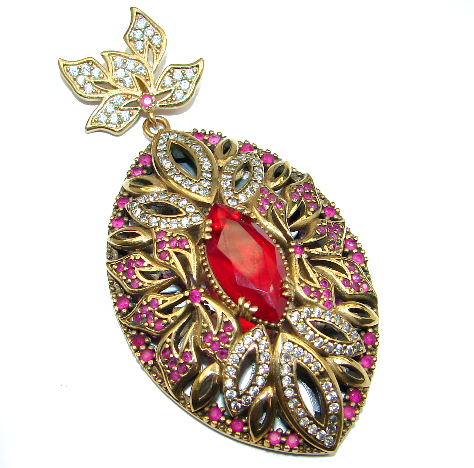 Vintage Style created Ruby 14k Gold over .925 Sterling Silver handmade Pendant