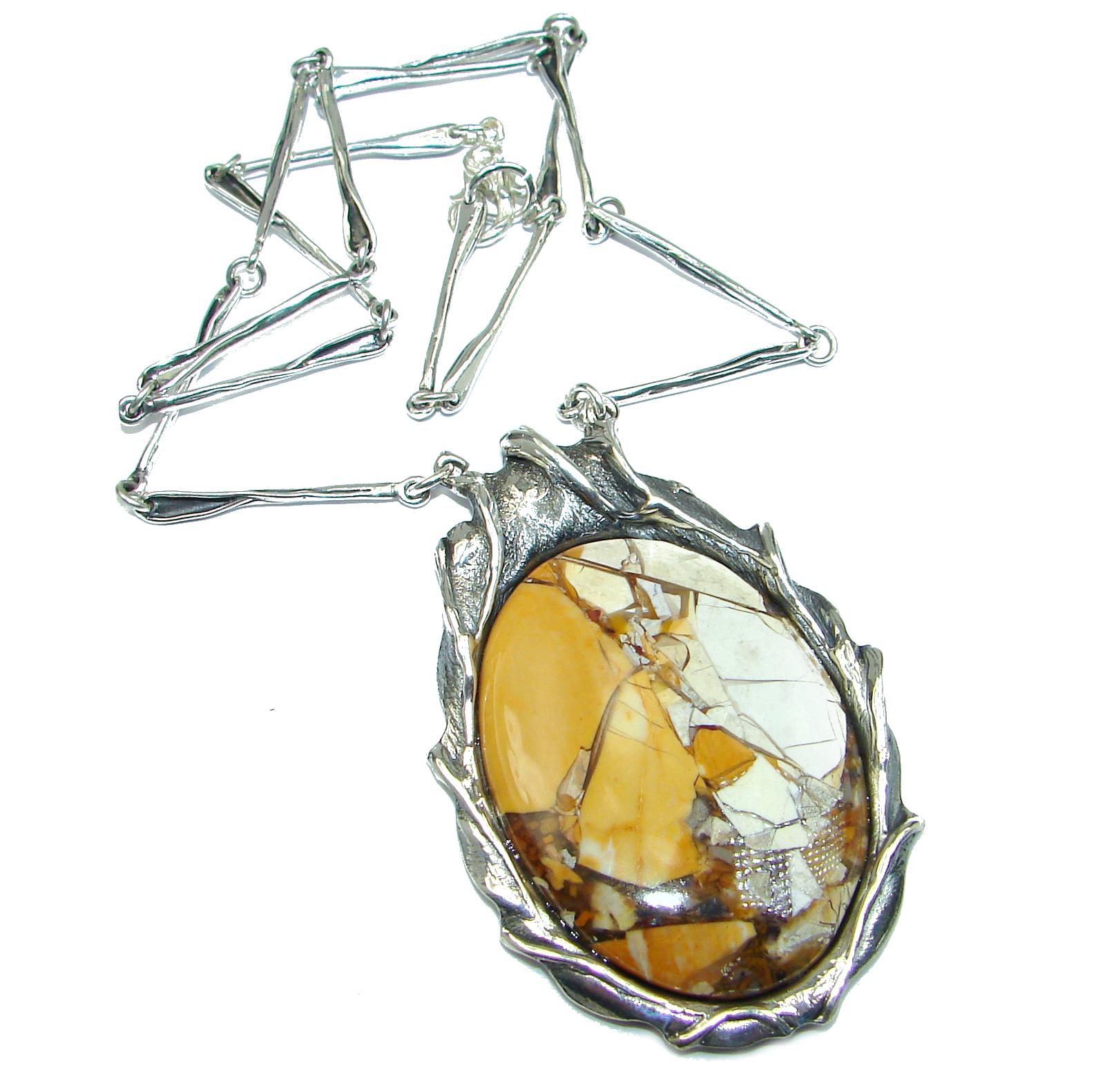 Huge Aura Of Beauty Australian Bracciated Mookaite Jasper .925 Sterling Silver necklace