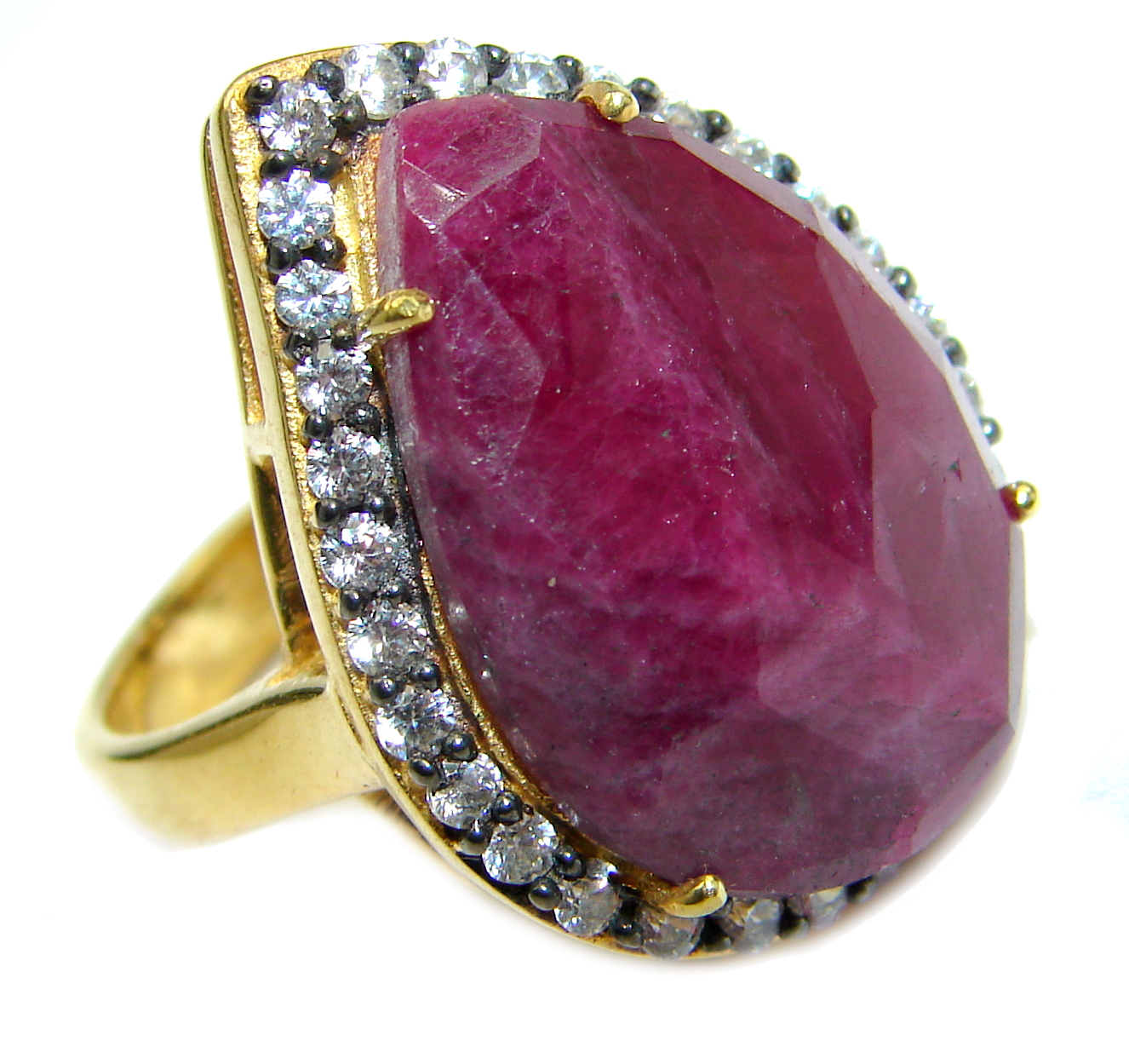 Large genuine Ruby 14K Gold over .925 Sterling Silver Statement ring; s. 8