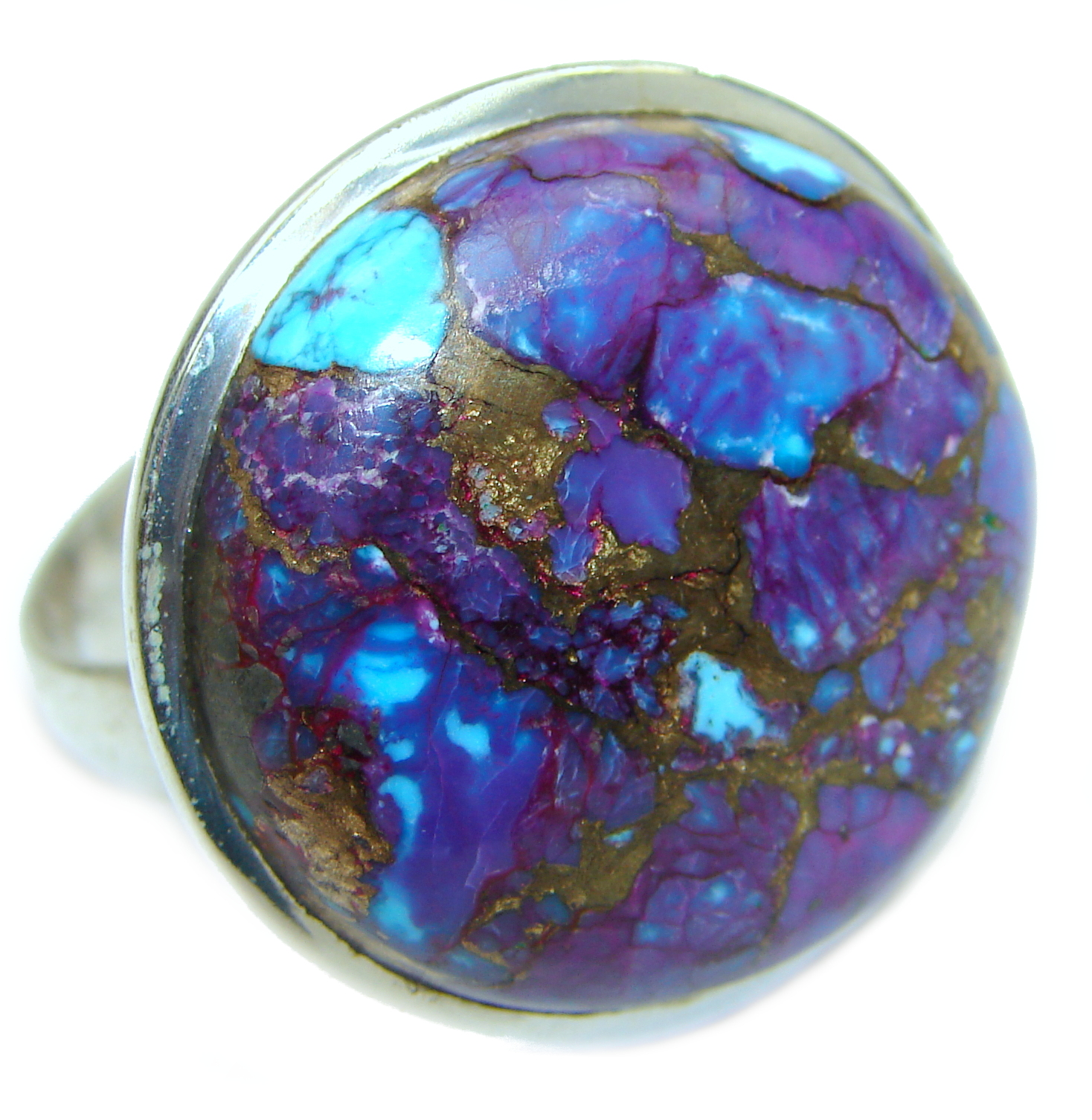 Huge Purple Turquoise .925 Sterling Silver ring; s. 11 1/4