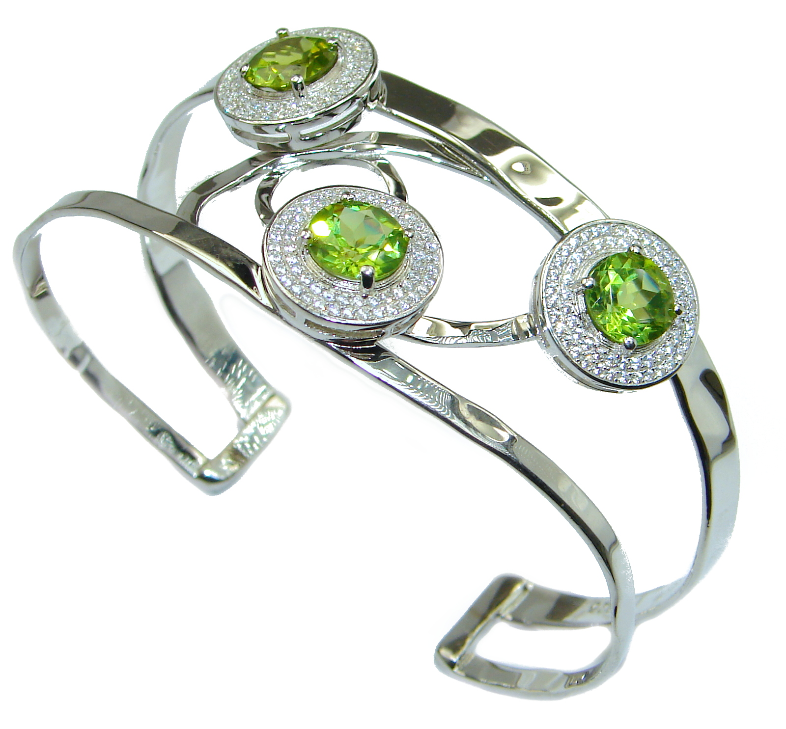 Genuine Peridot White Topaz .925 hammered Sterling Silver Bracelet / Cuff