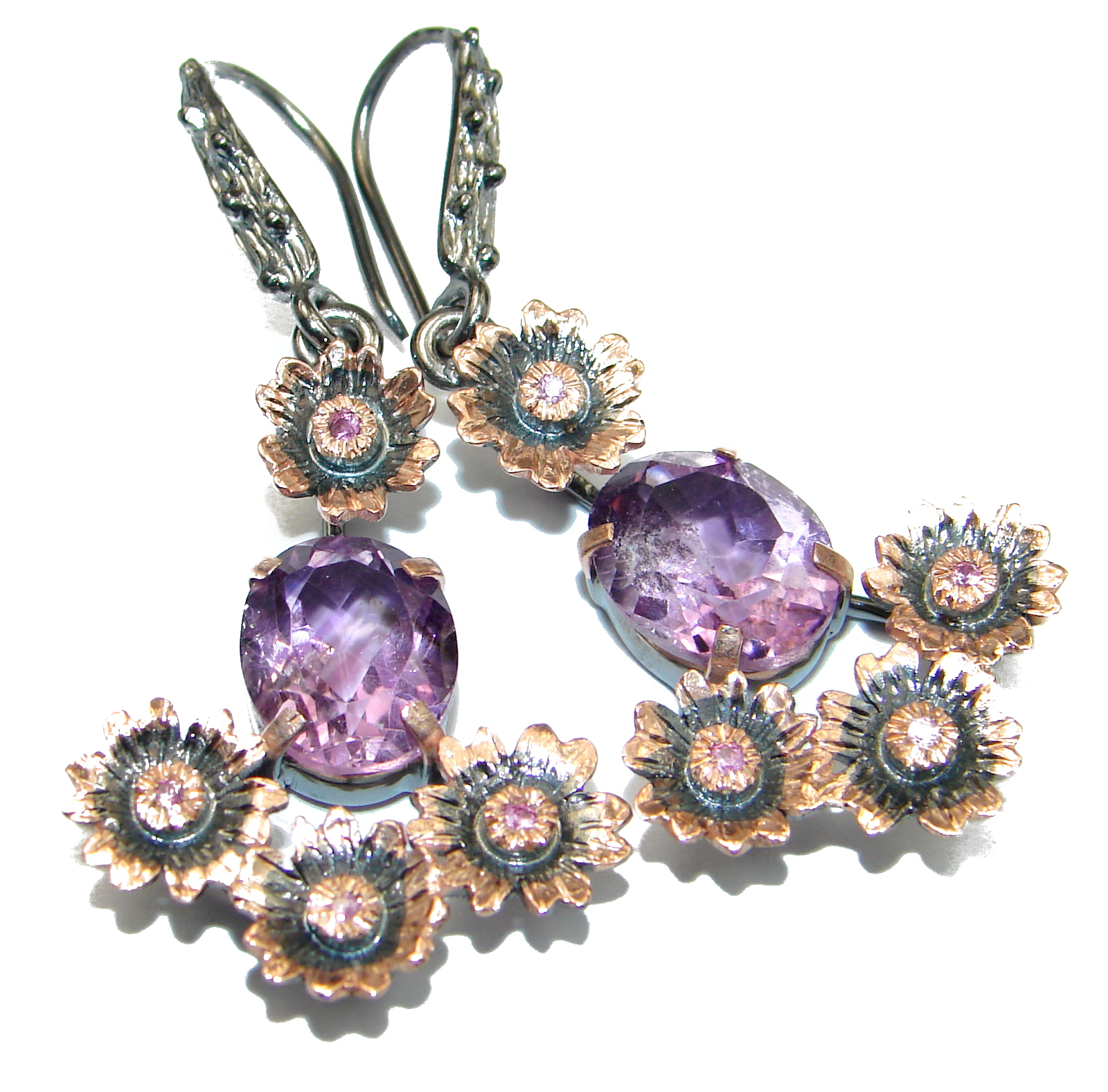 Vintage Design Authentic   Amethyst Gold over .925