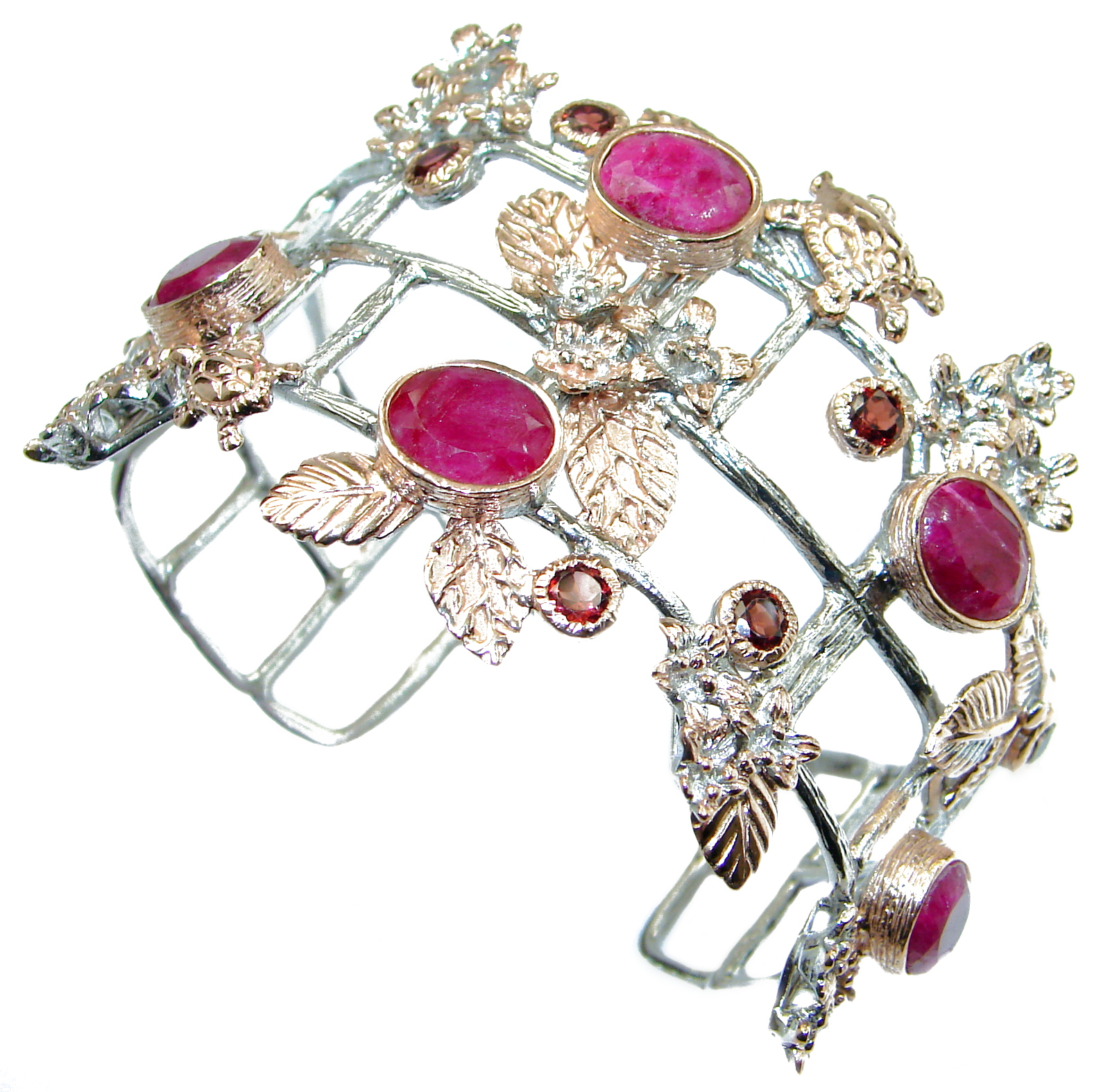 Radiant_Red_Beauty_Ruby_Rose_Gold_over_.925_Sterling_Silver_handcrafted_Bracelet_bangle