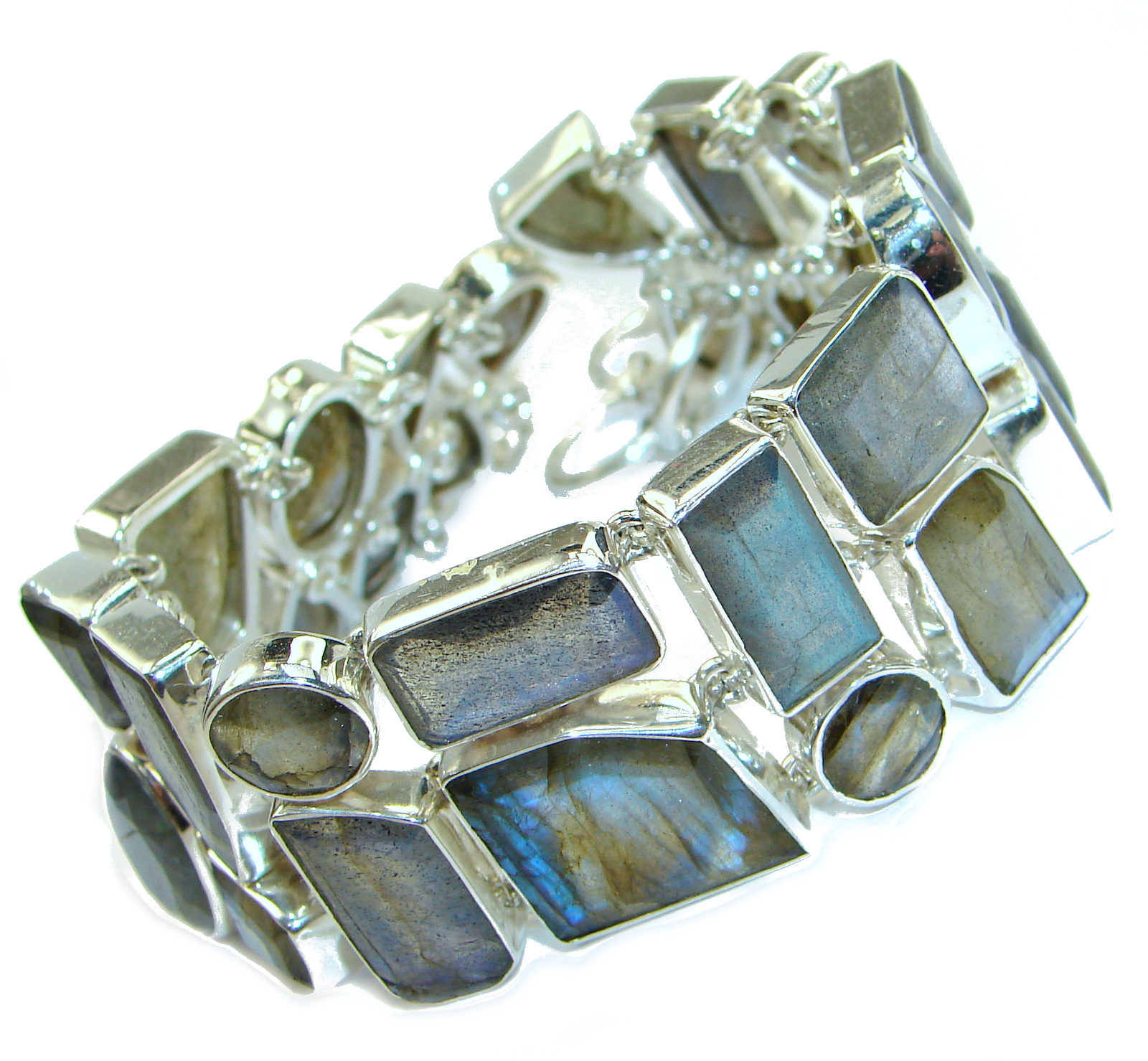 Large Cascade of light GENUINE Labradorite .925 Sterling Silver handmade Bracelet
