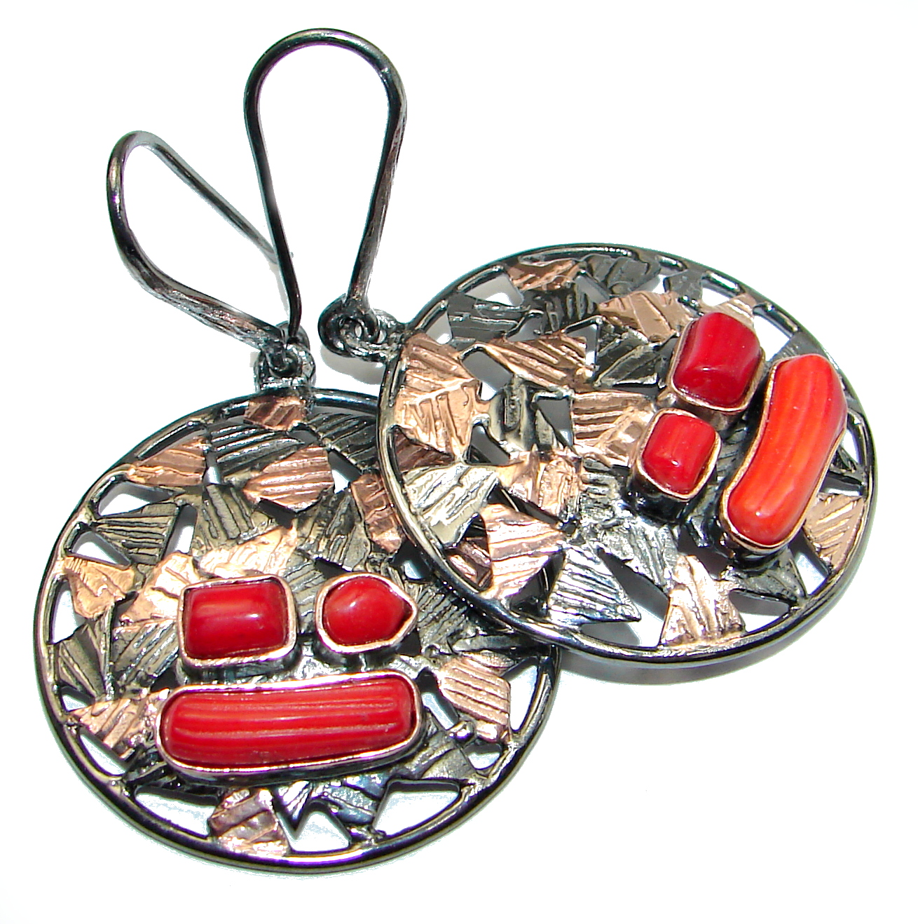 Genuine Red Fossilized Coral  .925 Sterling Silver