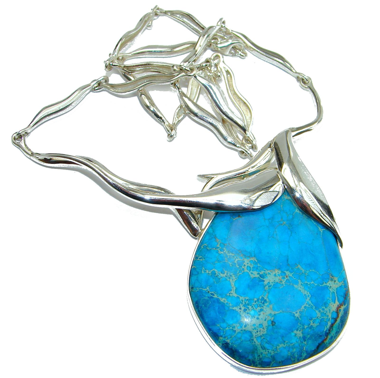 Julietta Blue Sea Sediment Jasper oxidized .925 Sterling Silver handmade necklace