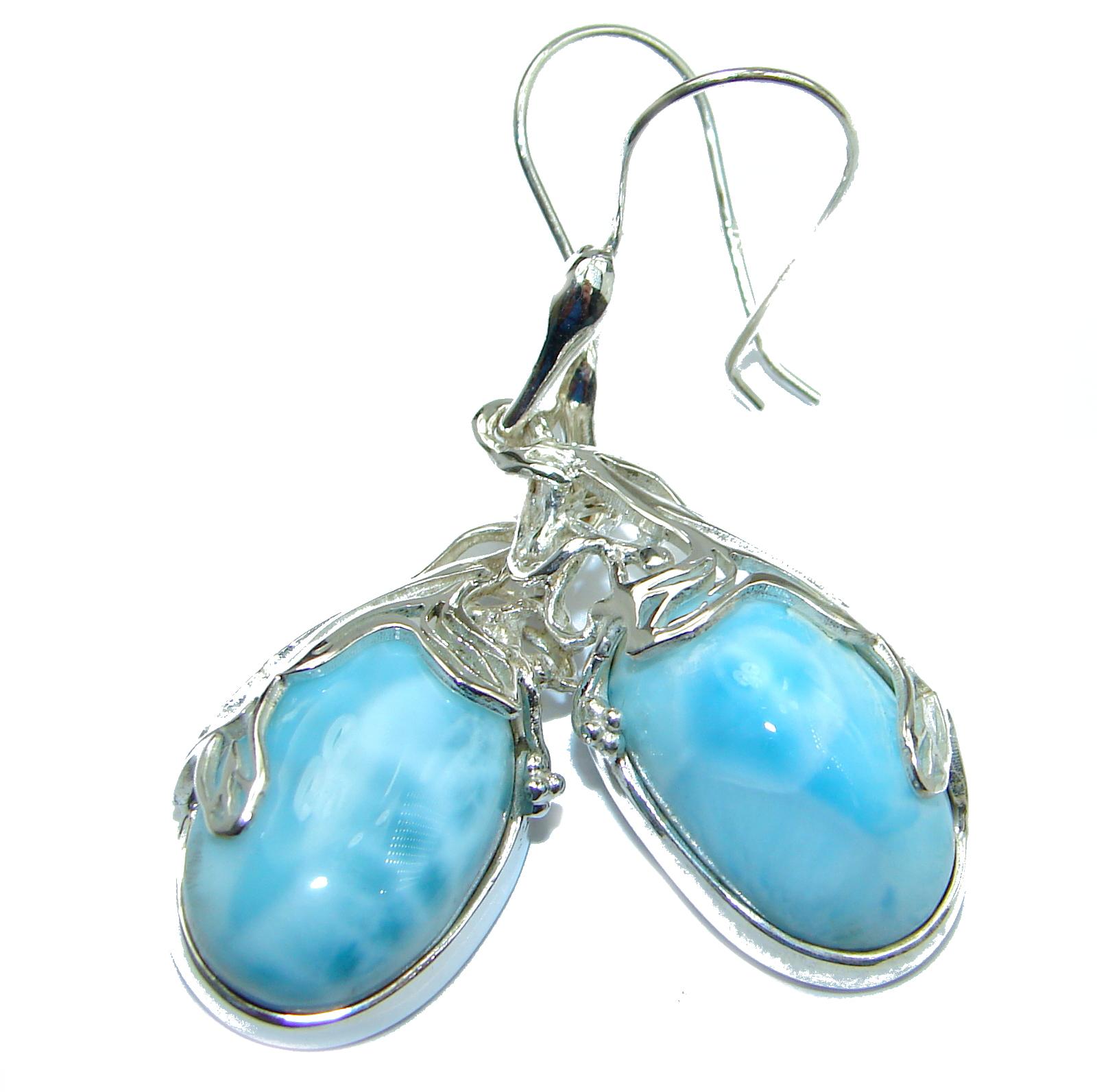 Blue Legacy Larimar .925 Sterling Silver handmade earrings