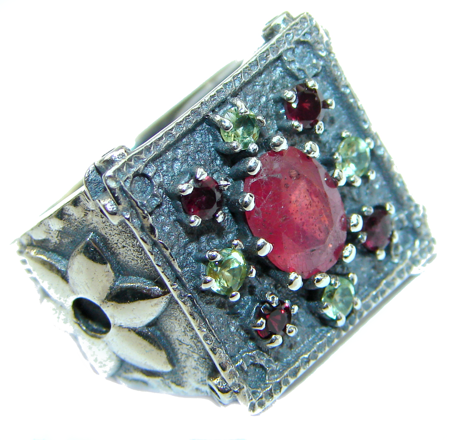Genuine Ruby .925 Sterling Silver Statement ring; s. 7 1/4