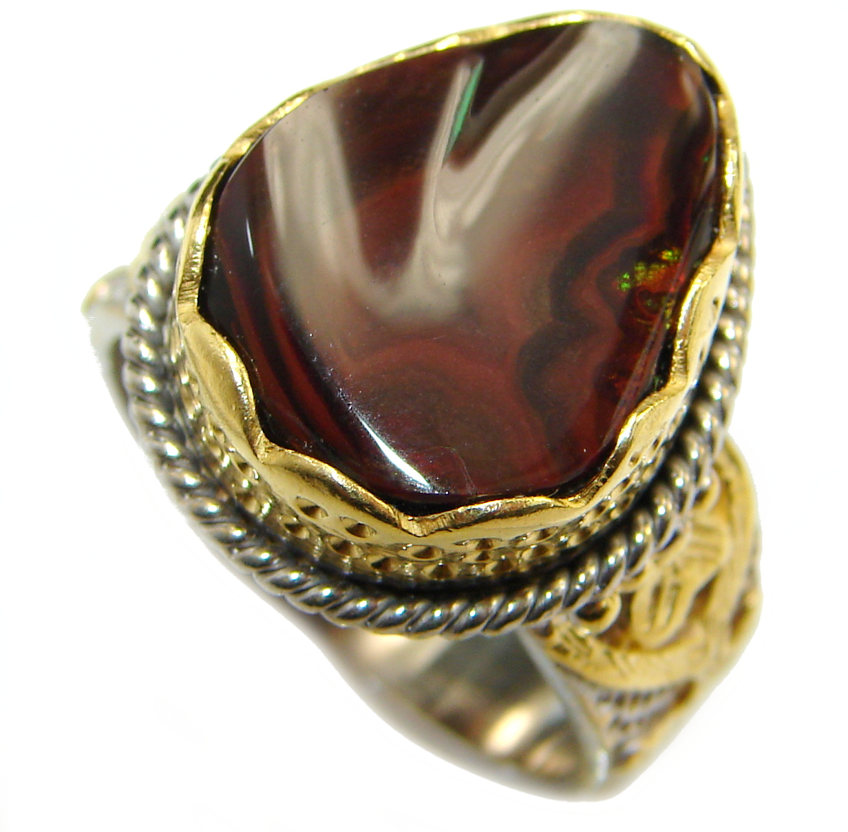 Genuine Fire Agate 18k Gold over .925 Sterling Silver Handcrafted Ring size 8