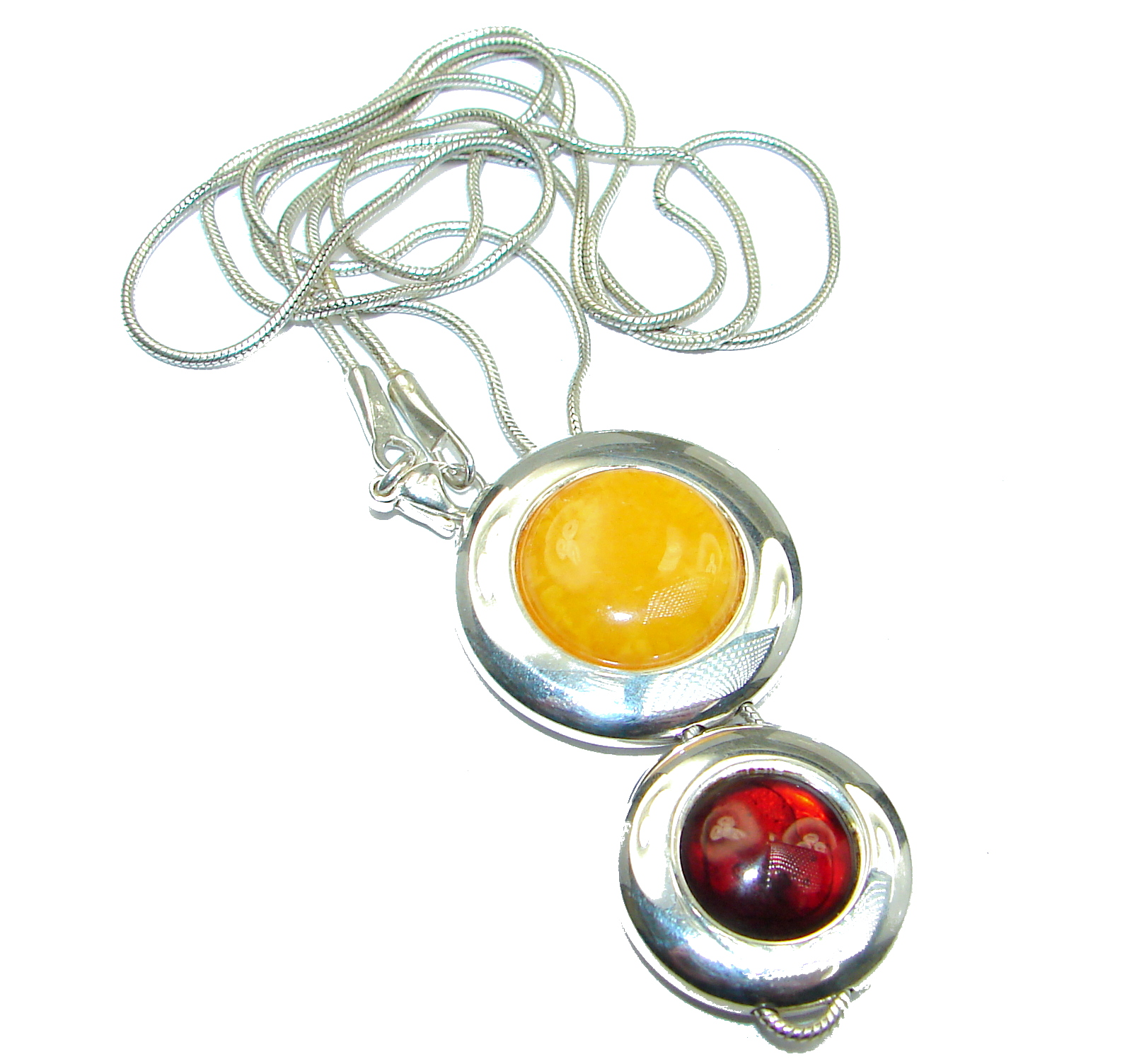 Natural Beauty Cognac Polish Amber Gold over .925 Sterling Silver handmade necklace