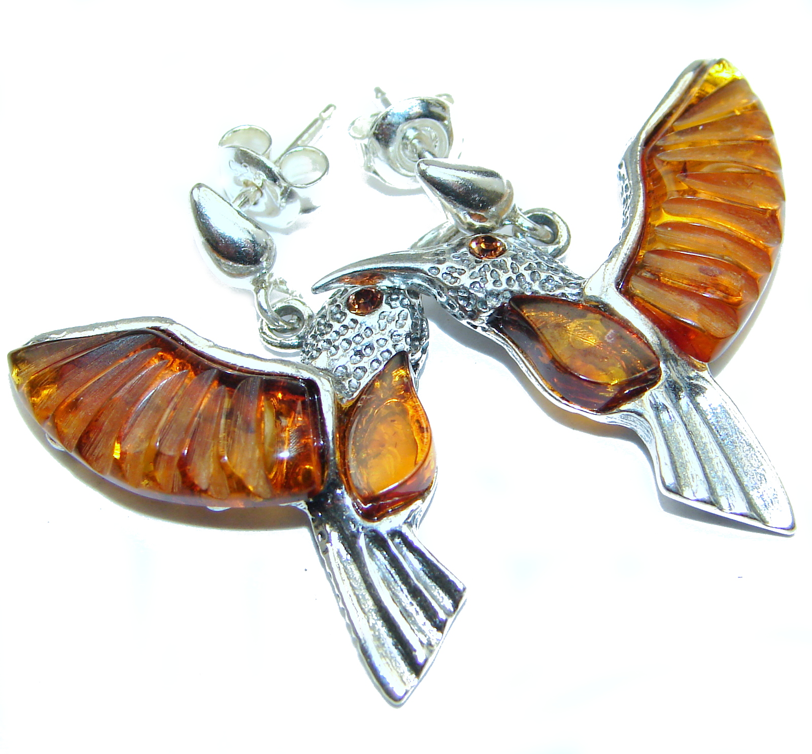 Hummingbird Genuine CARVED Baltic Amber .925 Sterling Silver handcrafted Earrings