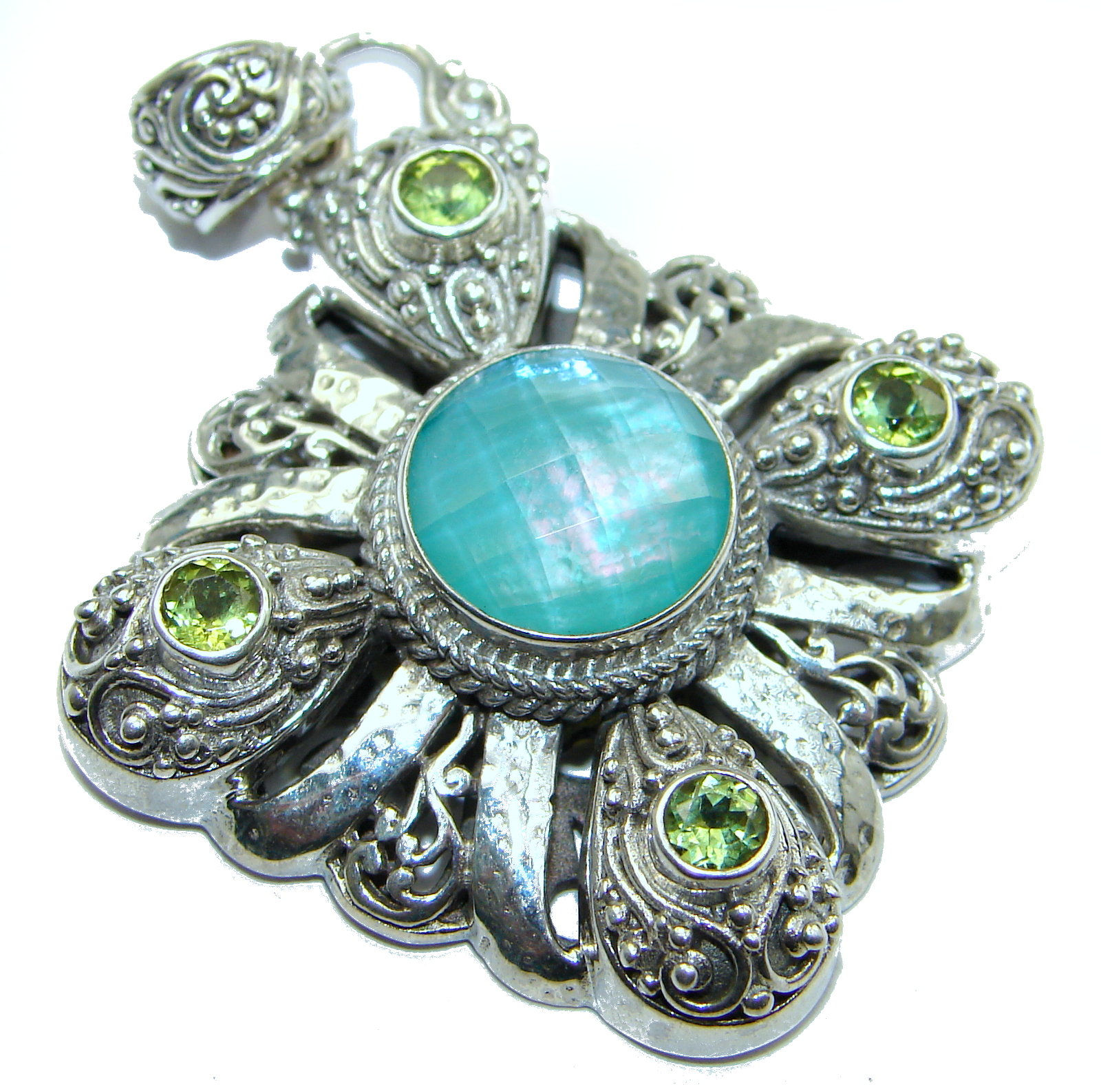 Amazing Minty Mother of Pearl .925 Sterling Silver handcrafted Pendant