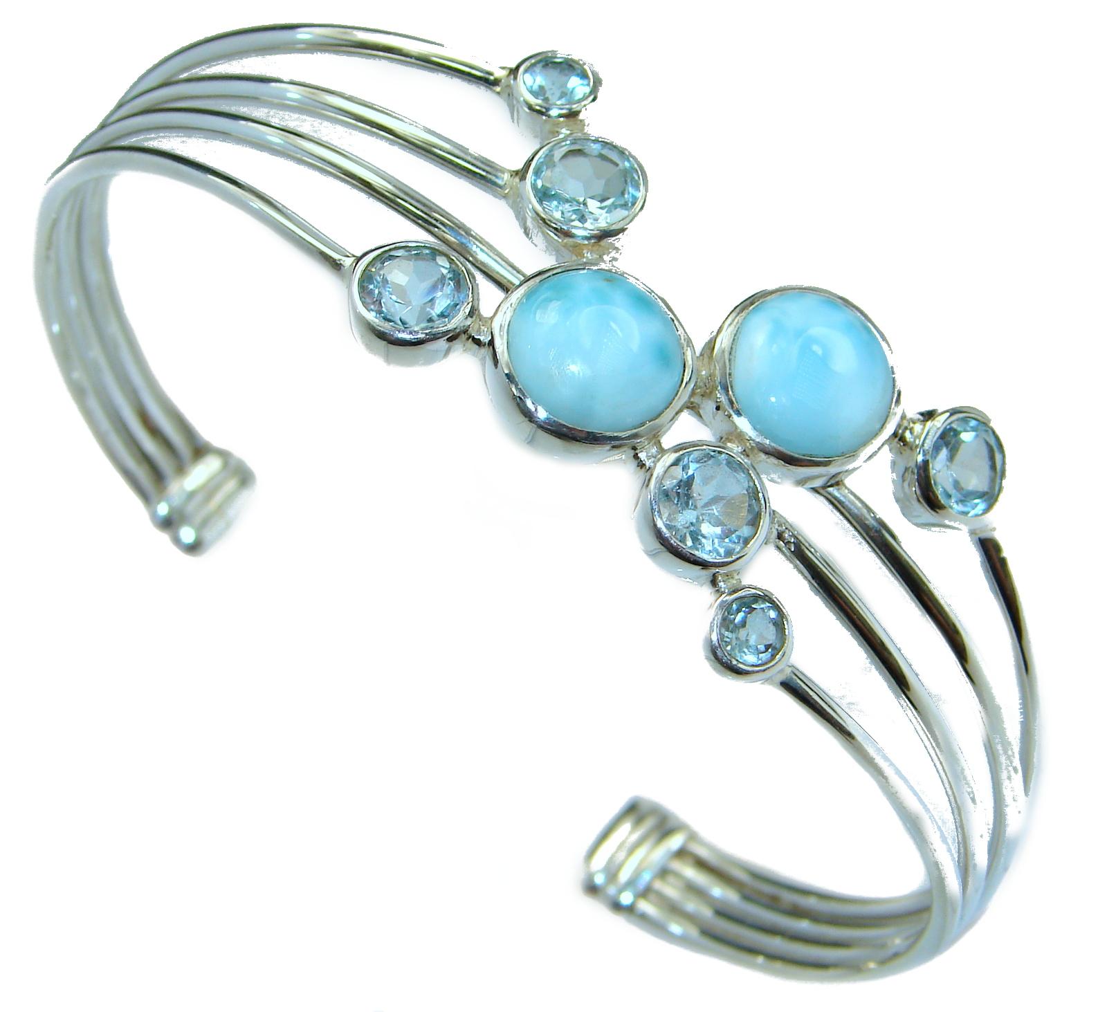 Fine Art Blue Larimar Swiss Blue Topaz .925 Sterling Silver handcrafted Bracelet / Cuff