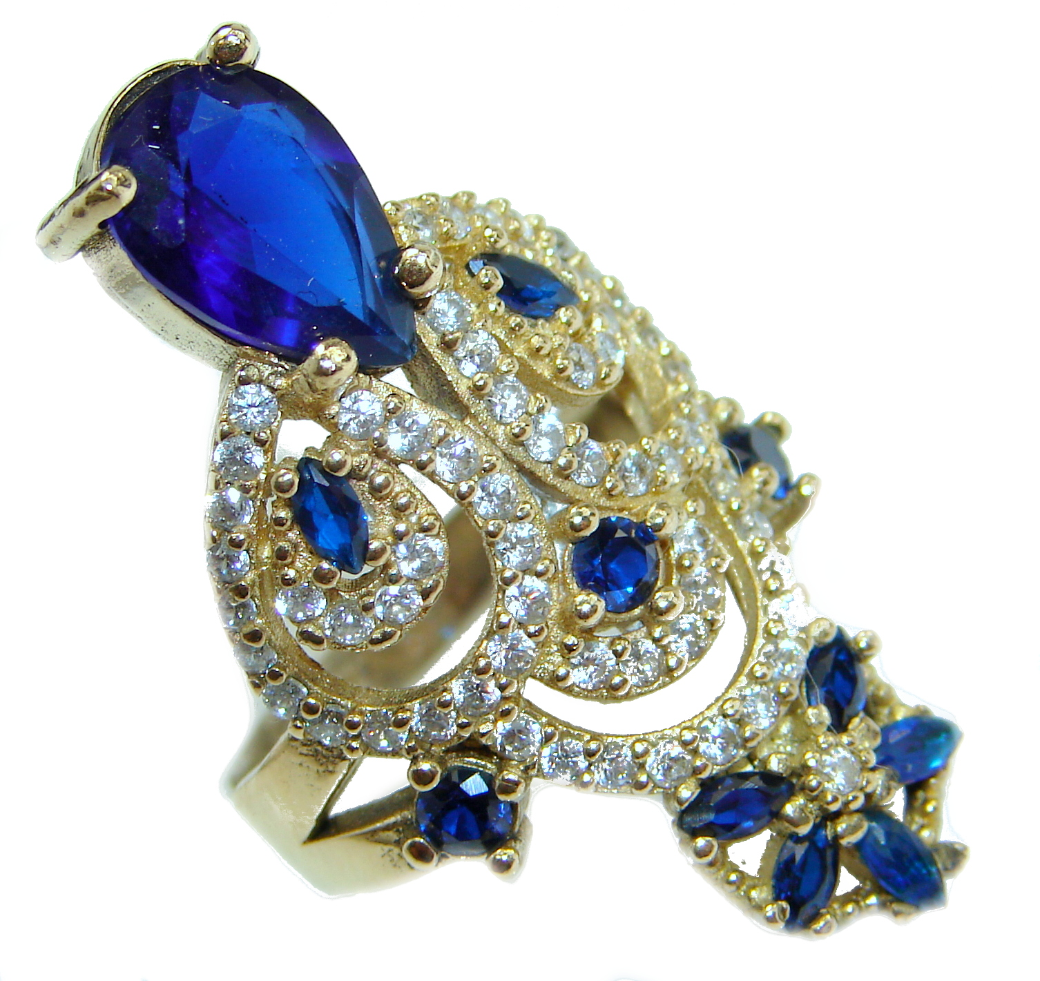 Spectacular created Sapphire .925 Sterling Silver Ring s. 8 1/4