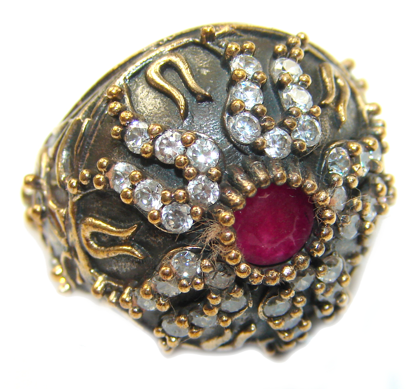 Large Victorian Style created Ruby & White Topaz Sterling Silver ring; s. 6 1/2