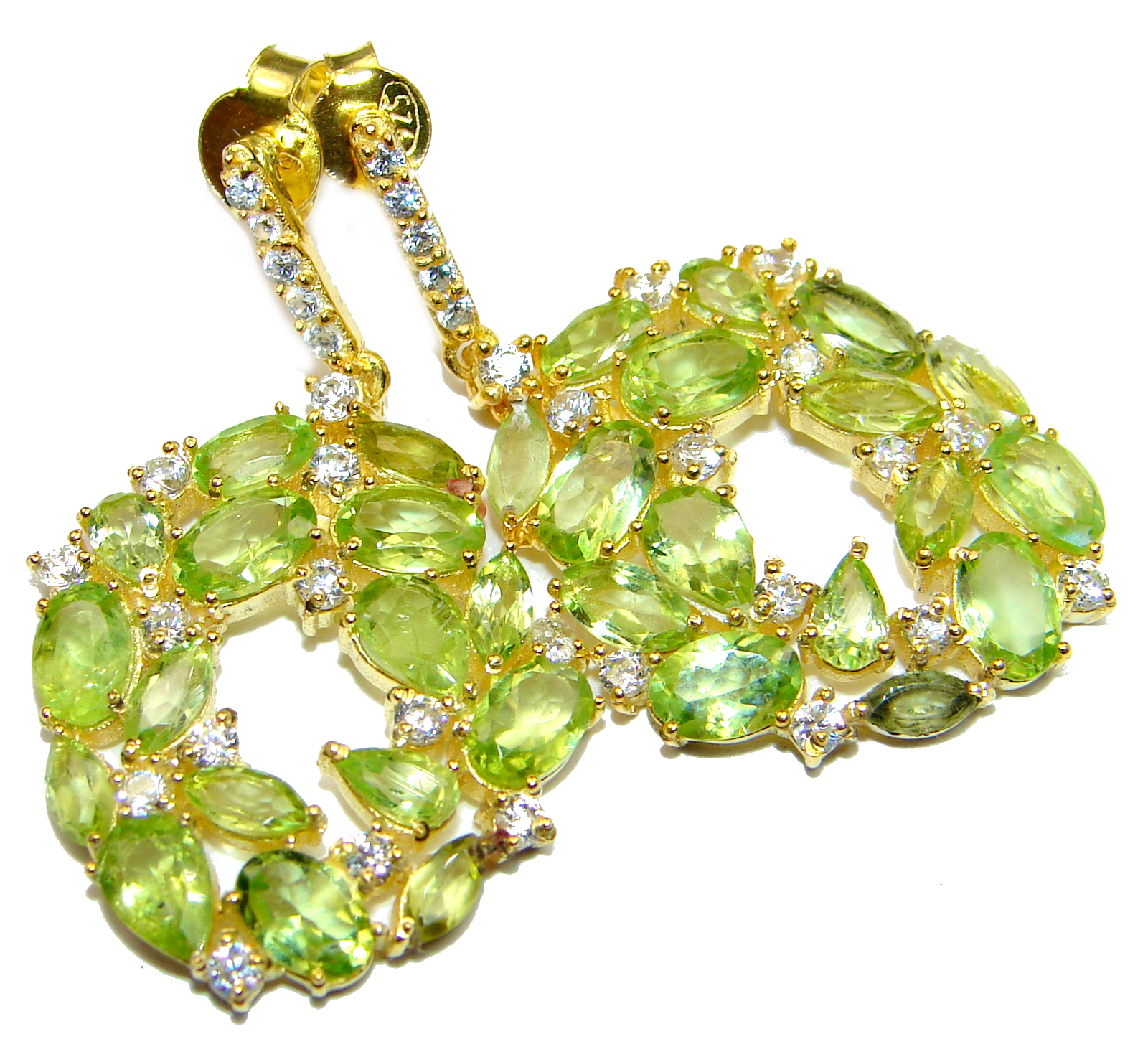 Rich Design genuine Peridot 14K Gold over .925 Sterling Silver handcrafted earrings