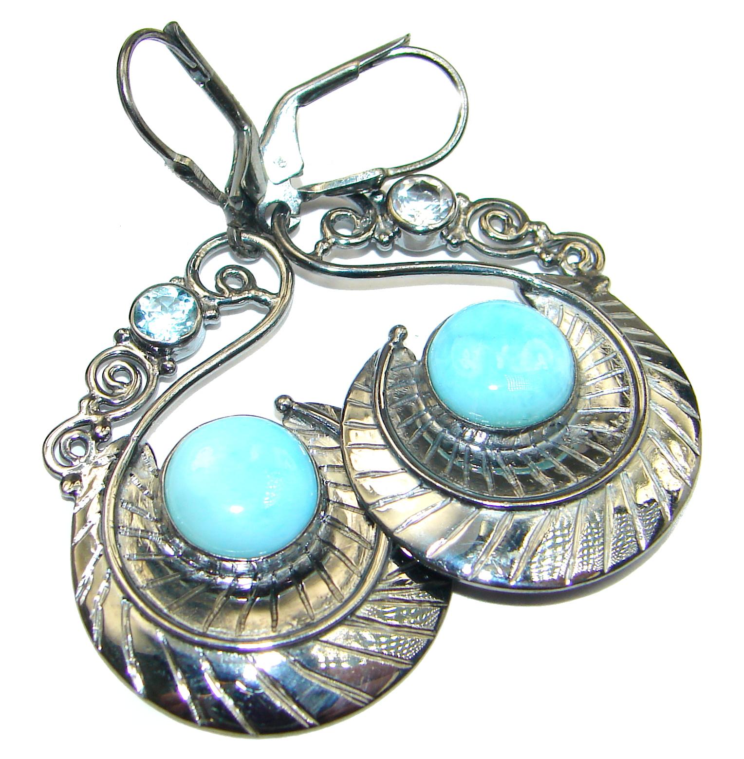 Vintage Design genuine Blue Larimar oxidized .925