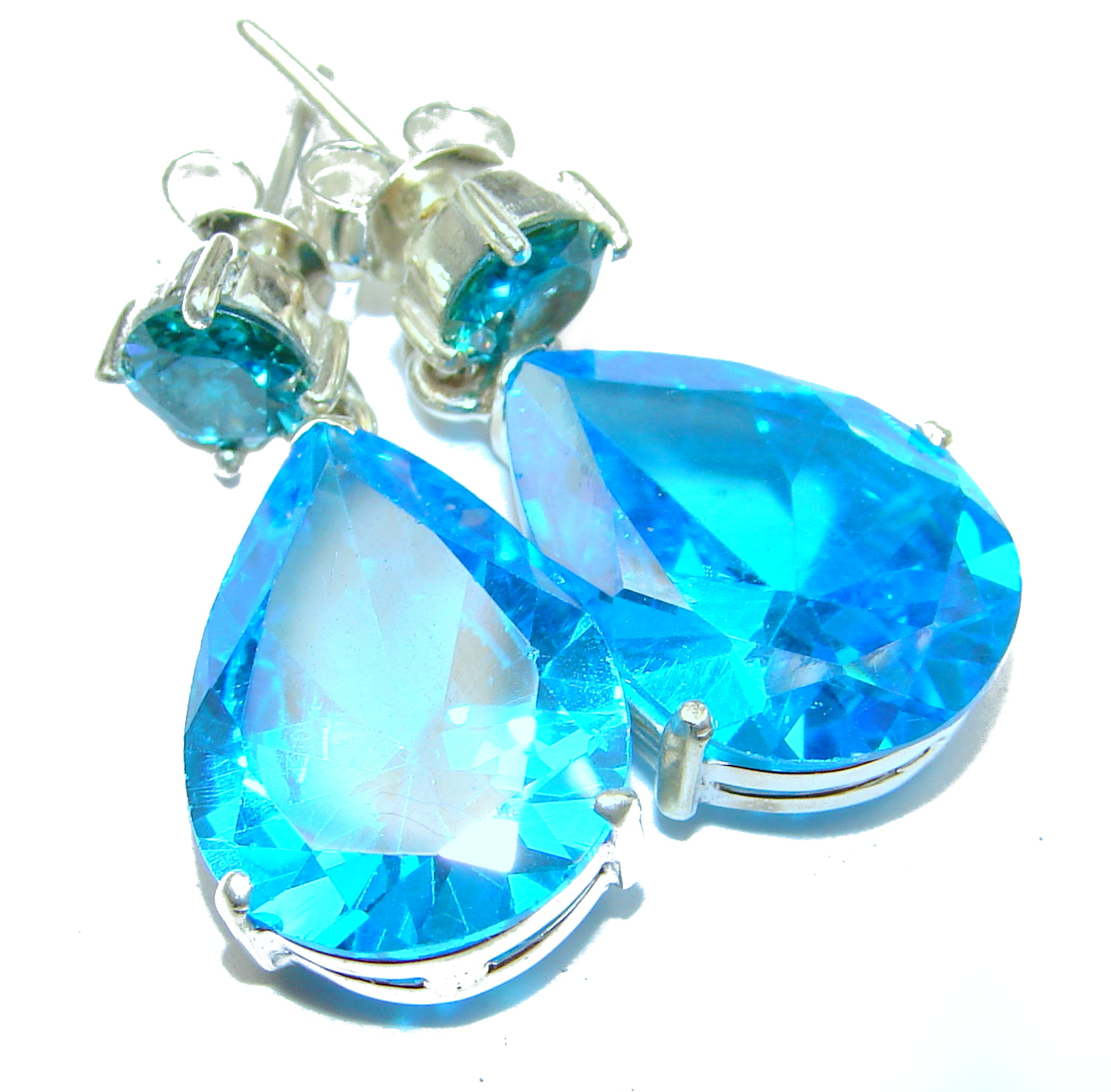 Angel Blue Cubic Zirconia  .925 Sterling Silver