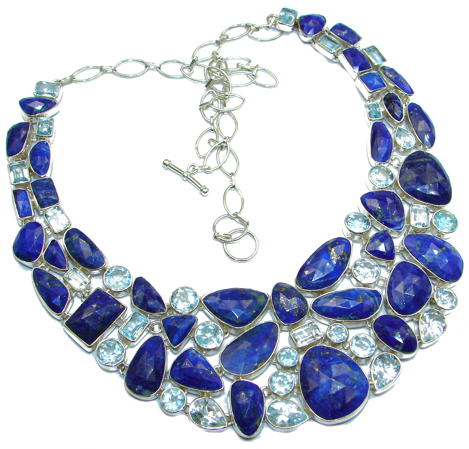 One in the world Huge Boho Style authentic Lapis Lazuli .925 Sterling Silver handmade necklace