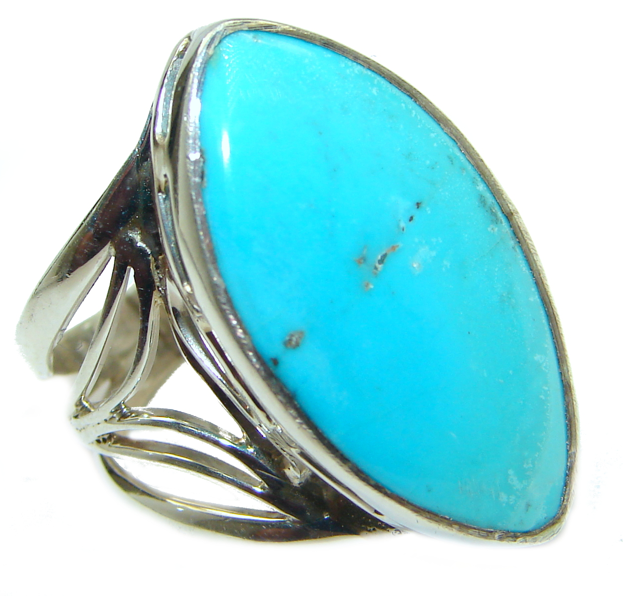 Genuine Sleeping Beauty Turquoise .925 Sterling Silver handcrafted Ring size 8