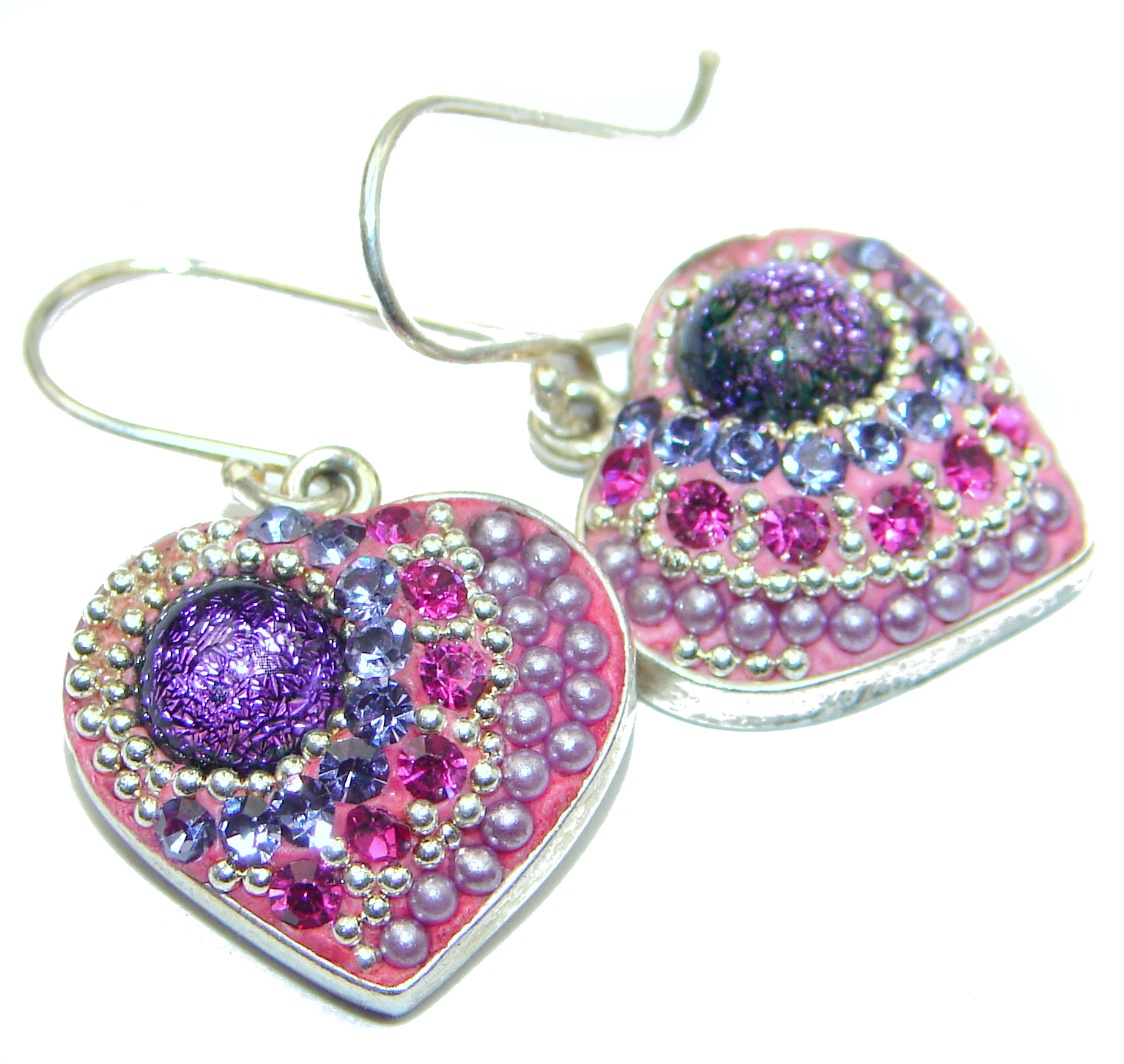 Handcrafted In Mexico Dichroic Glass .925 Sterling Silver handcrafted earrings