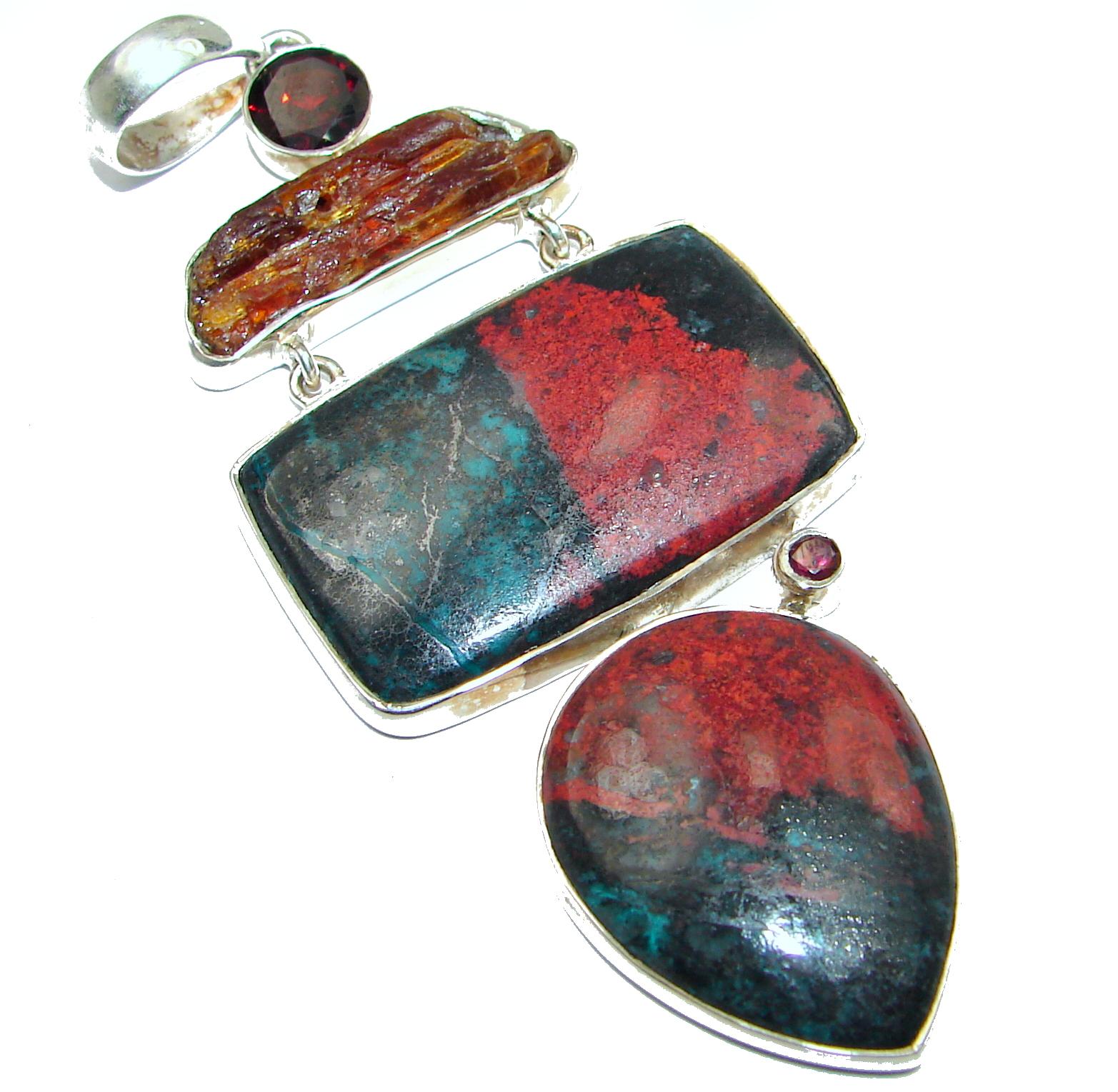 Unique Natural Sonora Jasper .925 Sterling Silver handmade Pendant