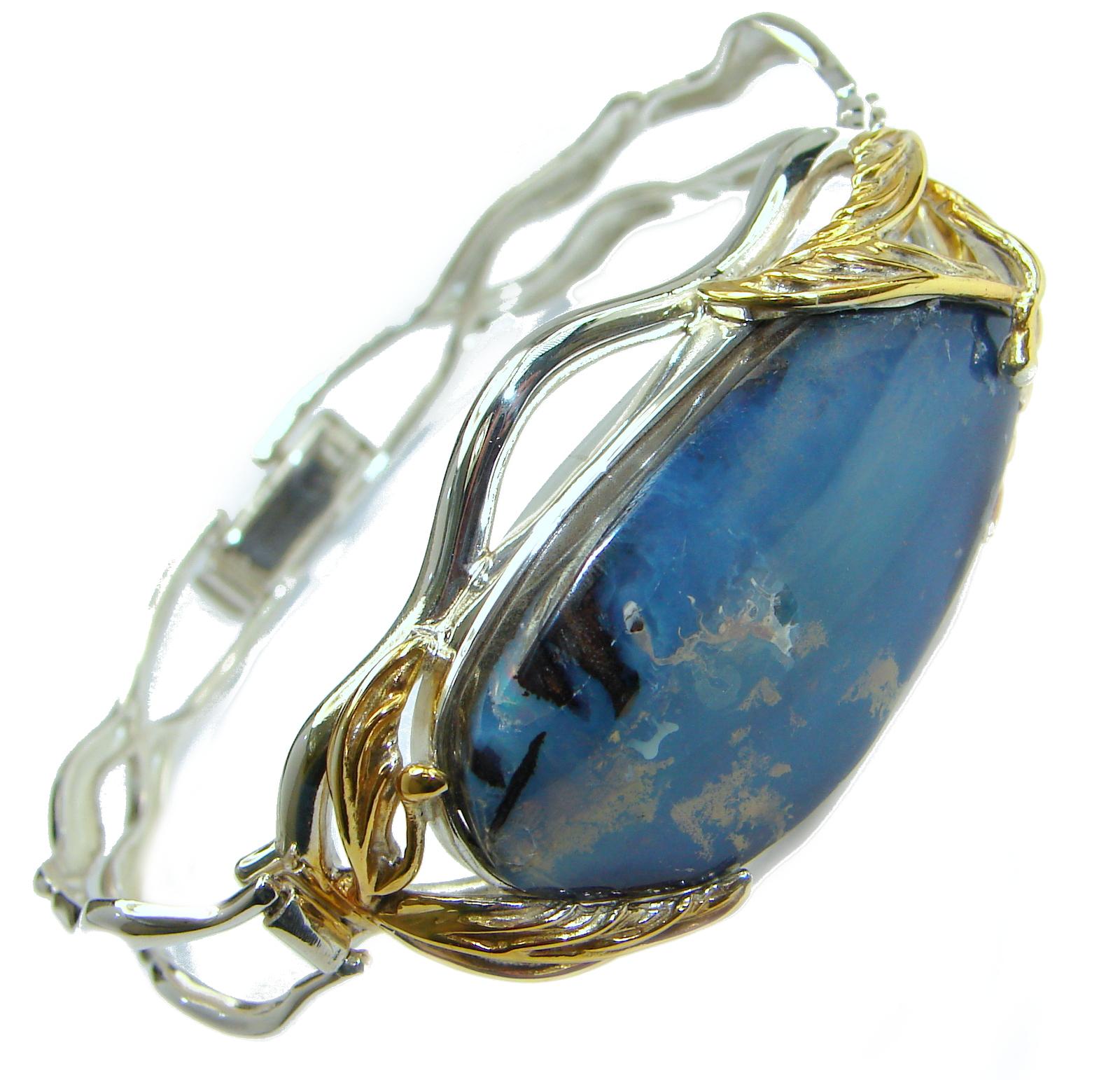 Australian Boulder Opal 18k Gold over .925 Sterling Silver handcrafted Bracelet / Cuff