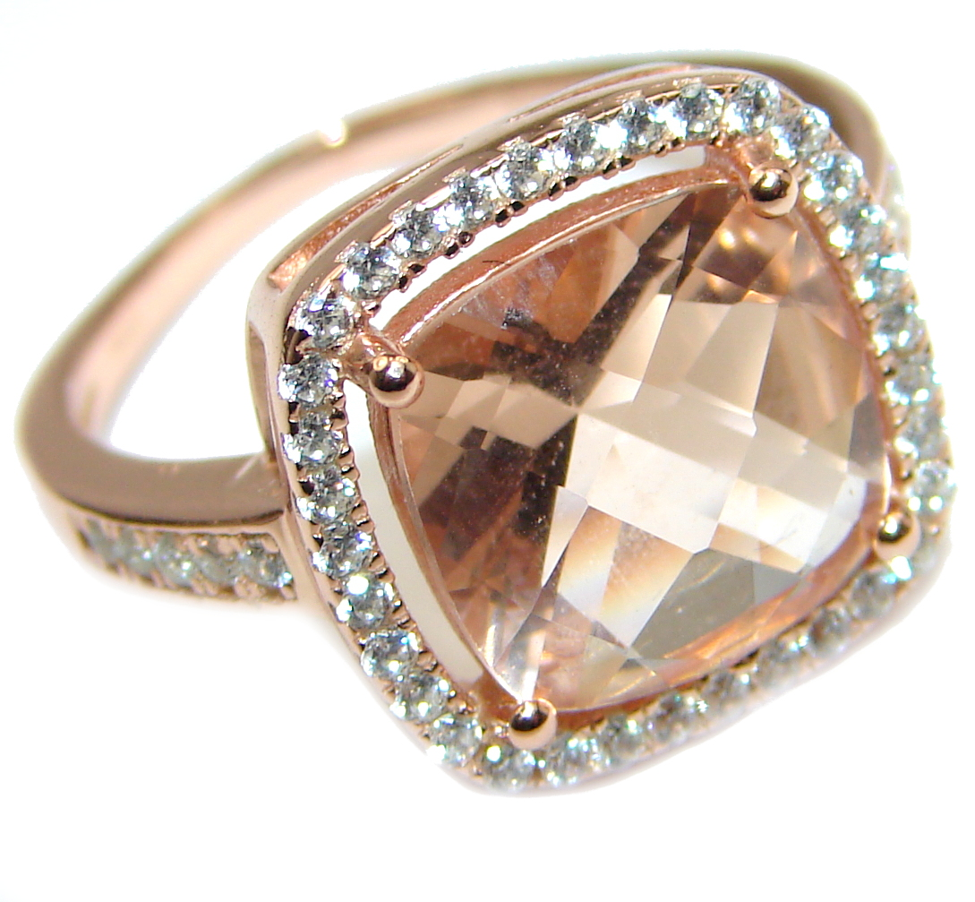 Cushion Cut Morganite 14K Rose Gold over .925 Sterling Silver handcrafted ring s. 6 1/4