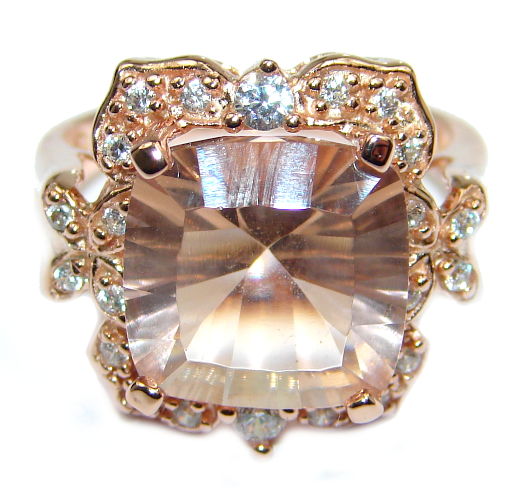 Cushion Cut Morganite 14K Rose Gold  over .925 Sterling Silver handcrafted  ring s. 5 1/4