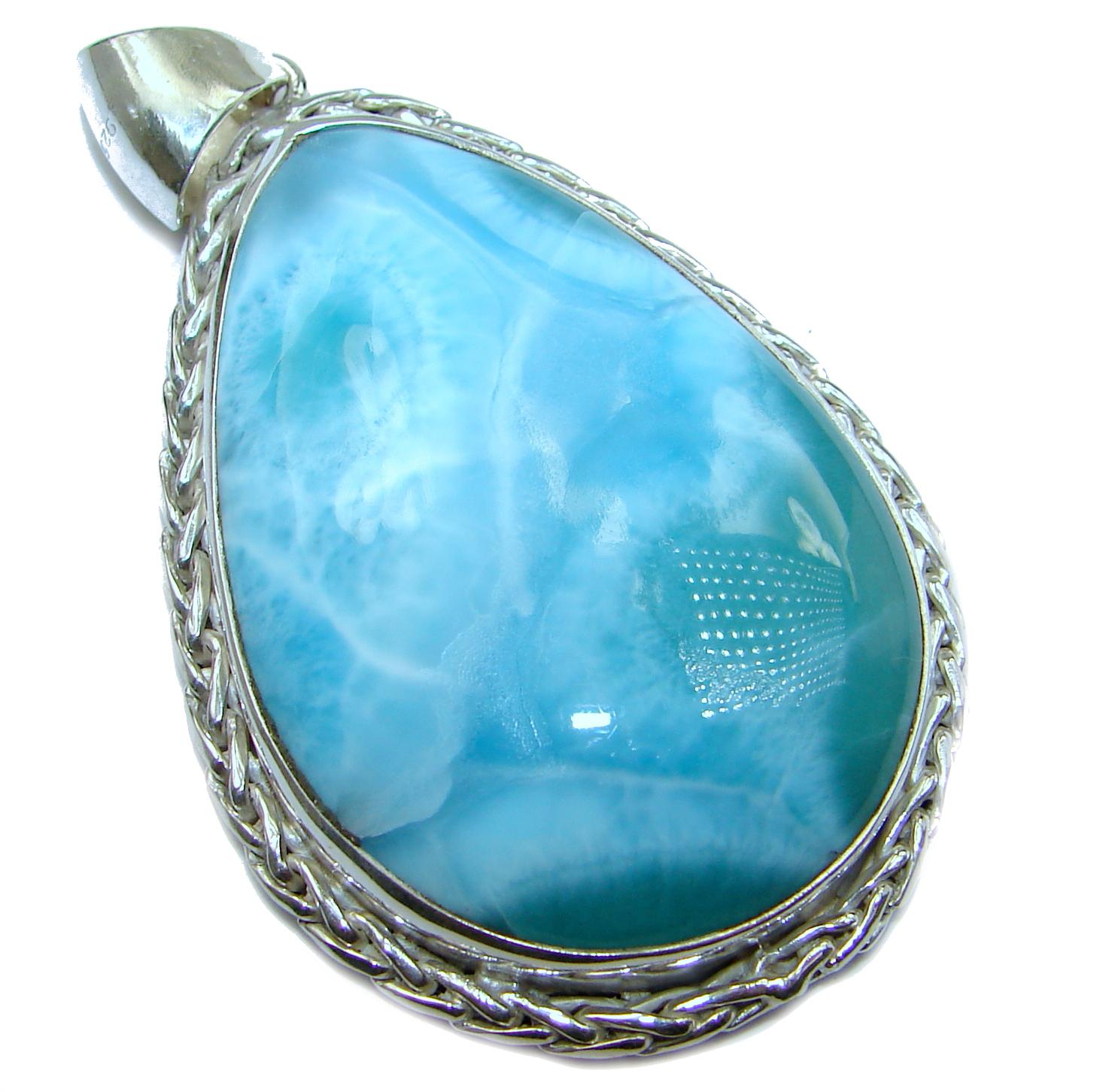 Huge 33 grams Vintage Style Beauty Larimar .925 Sterling Silver handmade pendant