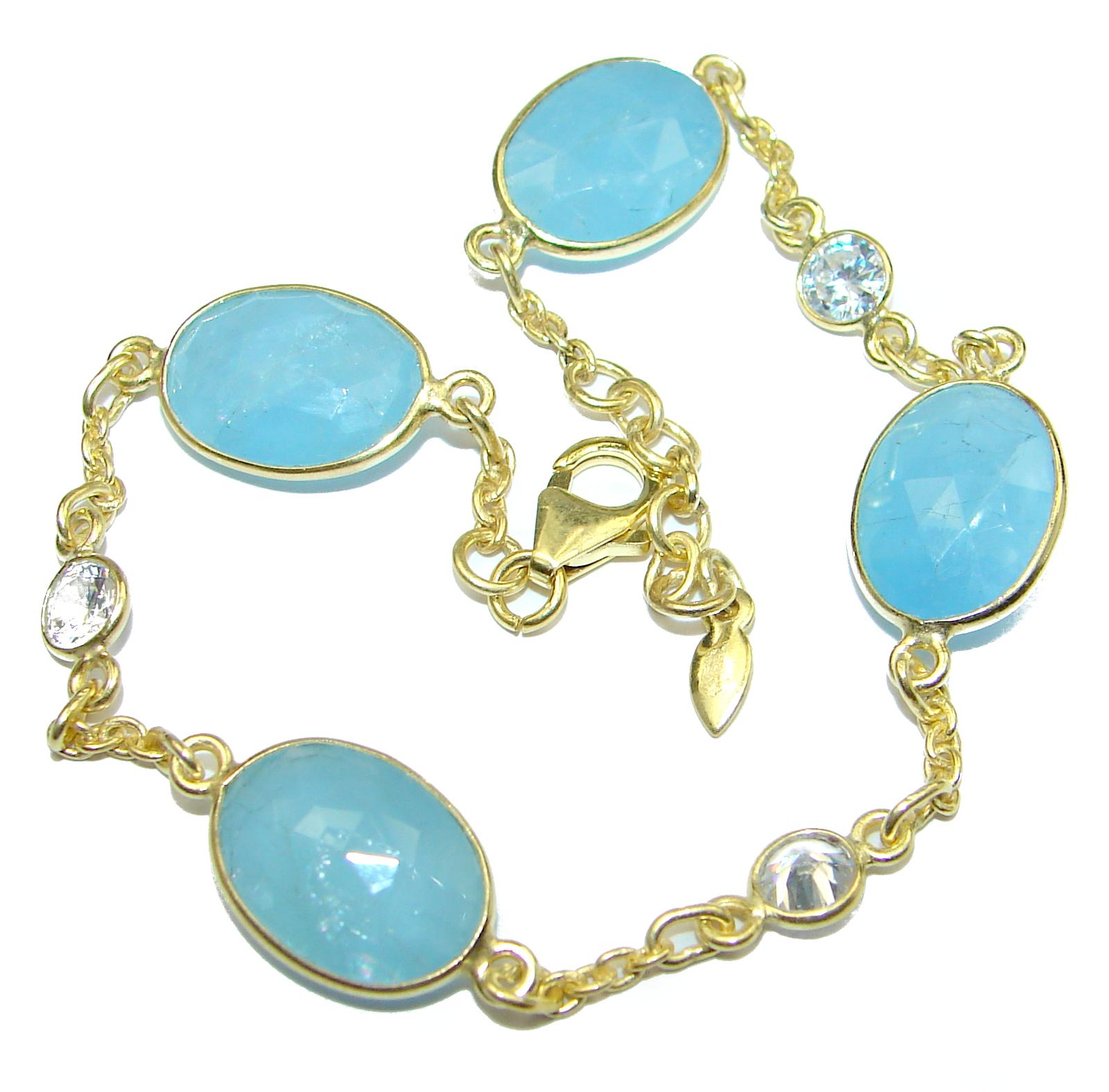 Genuine Aquamarine Gold over .925 Sterling Silver handcrafted Bracelet