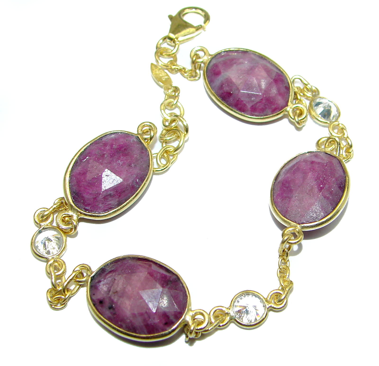 Genuine Ruby 18 ct Gold over .925 Sterling Silver handmade Bracelet