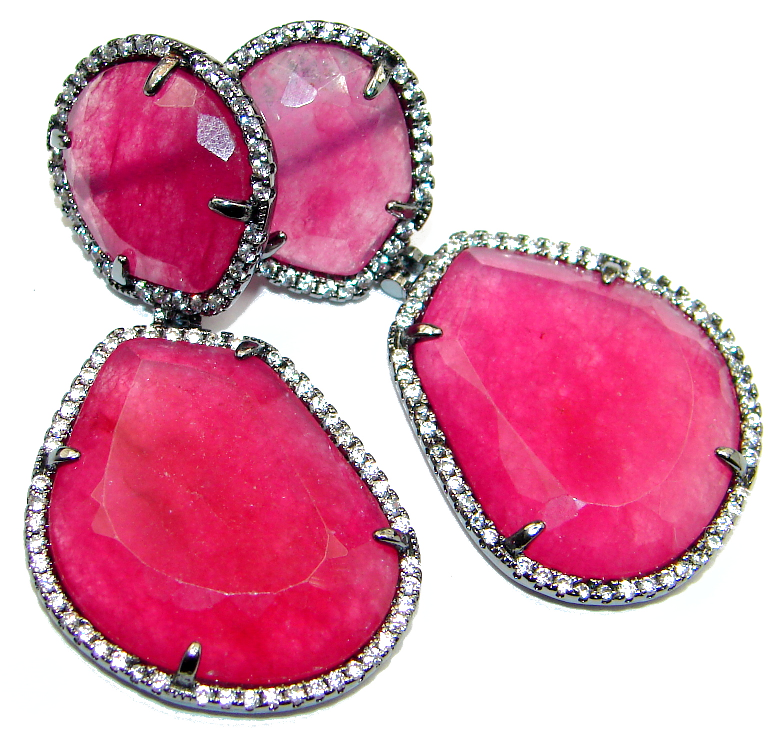 Spectacular Ruby color quartz .925 Sterling Silver earrings