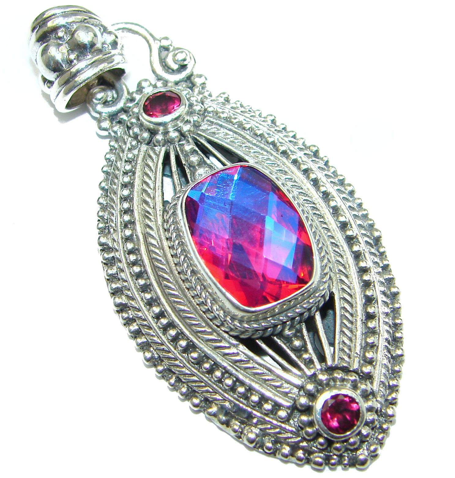 Authentic Volcanic Pink Topaz .925 Coral Sterling Silver handmade pendant