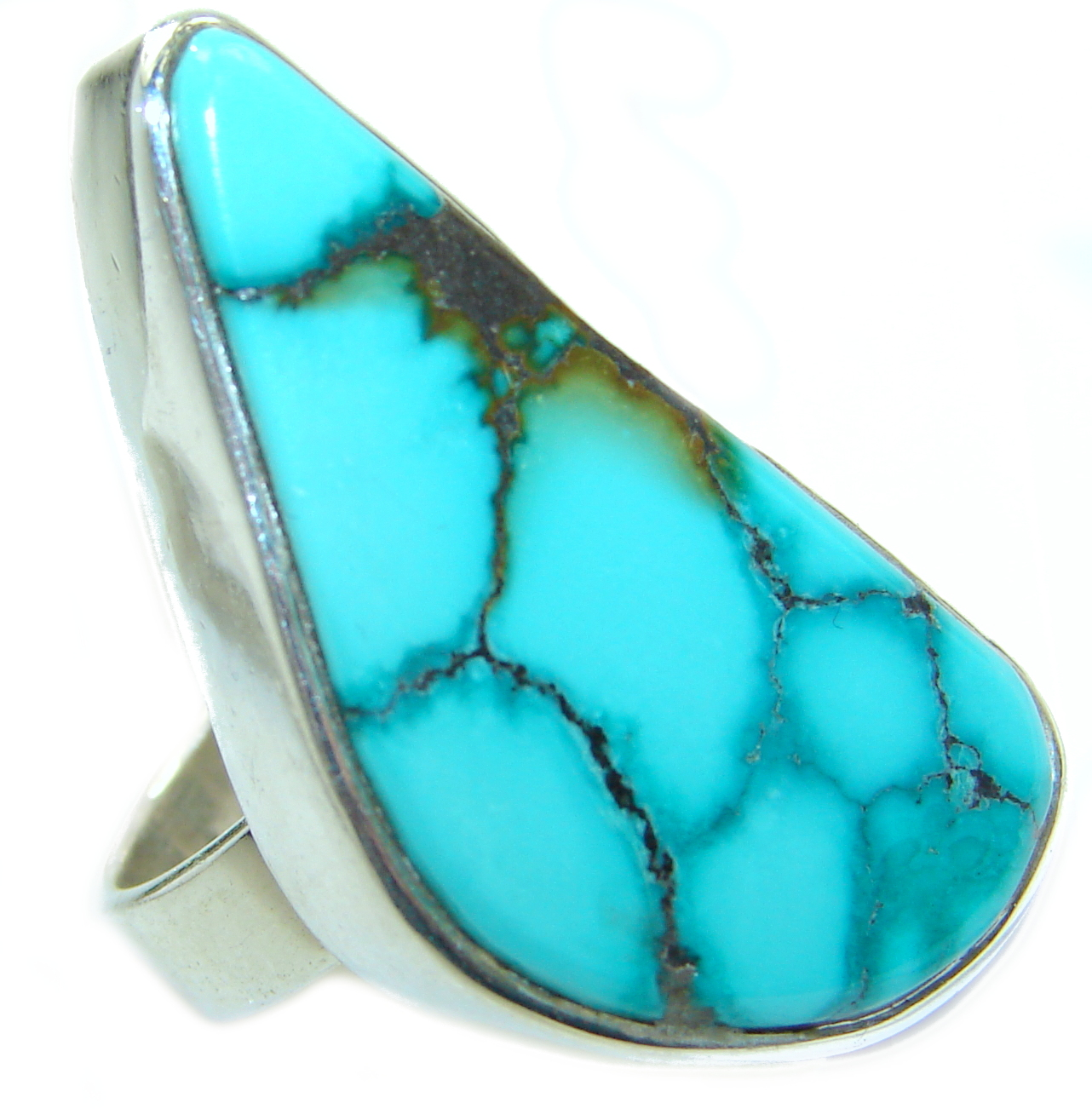 Genuine Beauty Turquoise .925 Sterling Silver handcrafted Ring size 6