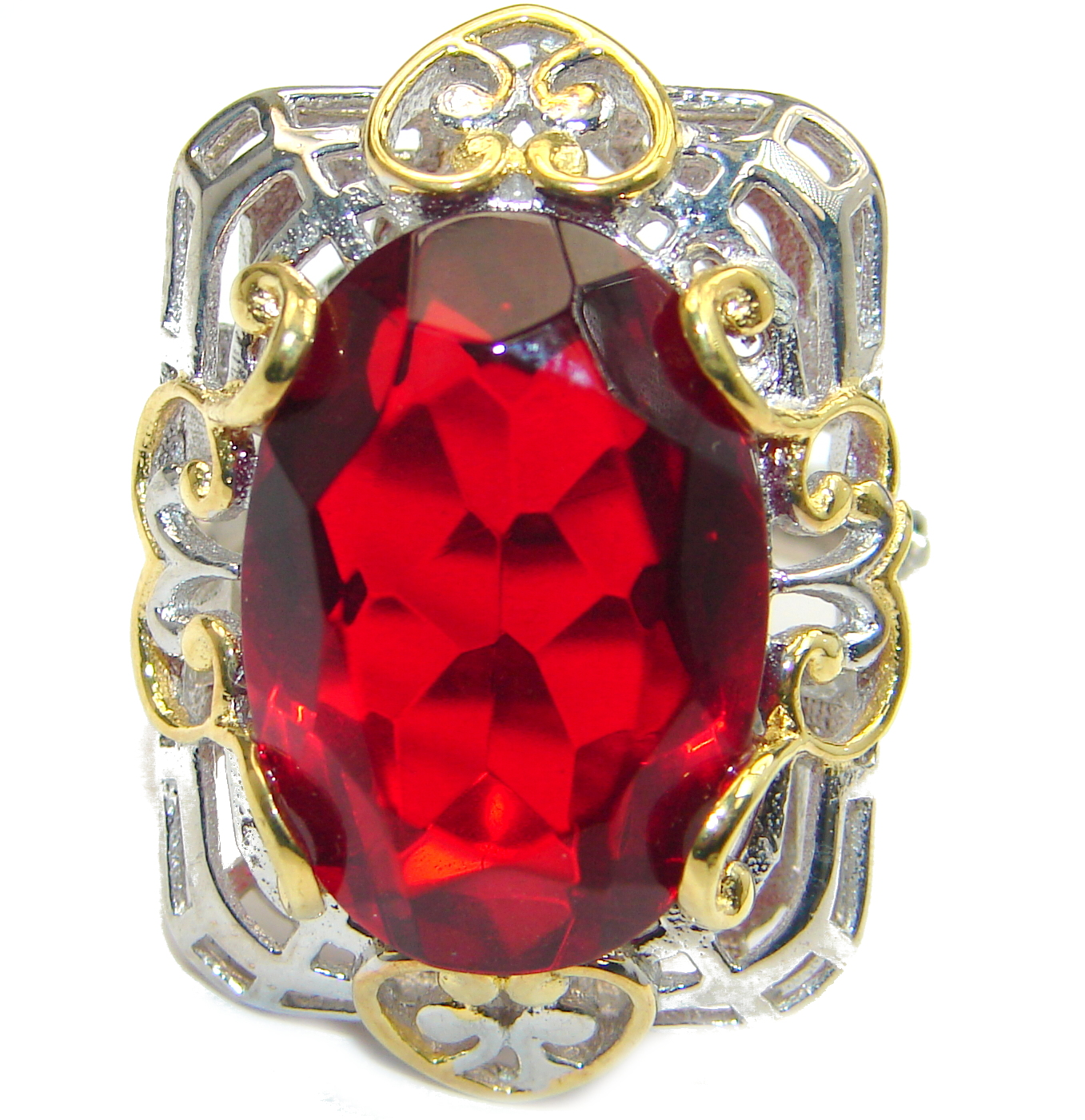 Ruby color Quartz Topaz two tones .925 Sterling Silver handcrafted Ring s. 8 1/4