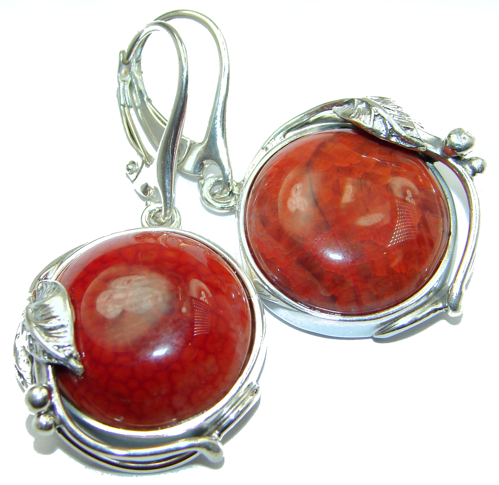 Unique Rustic Floral design Mexican Agate .925 Sterling Silver handmade earrings