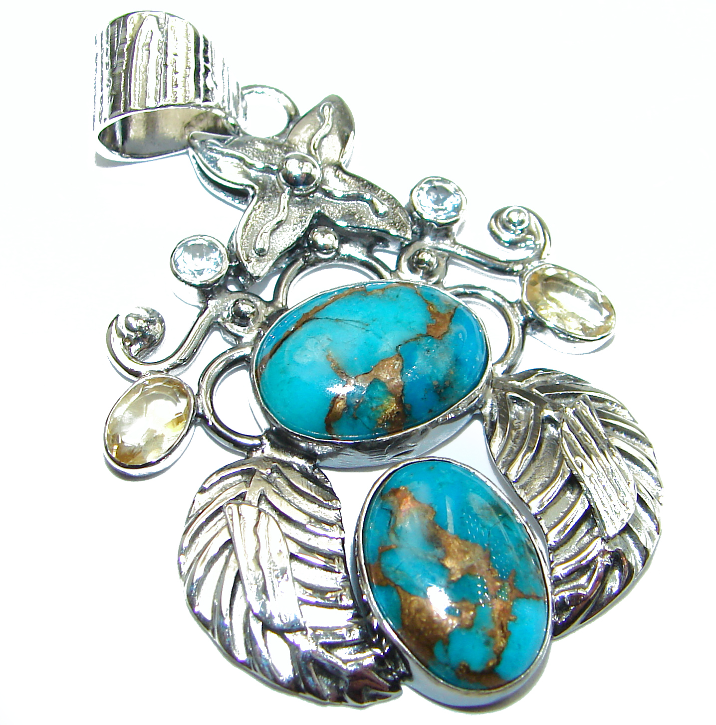 Turquoise with Copper vains .925 Sterling Silver habndmade Pendant