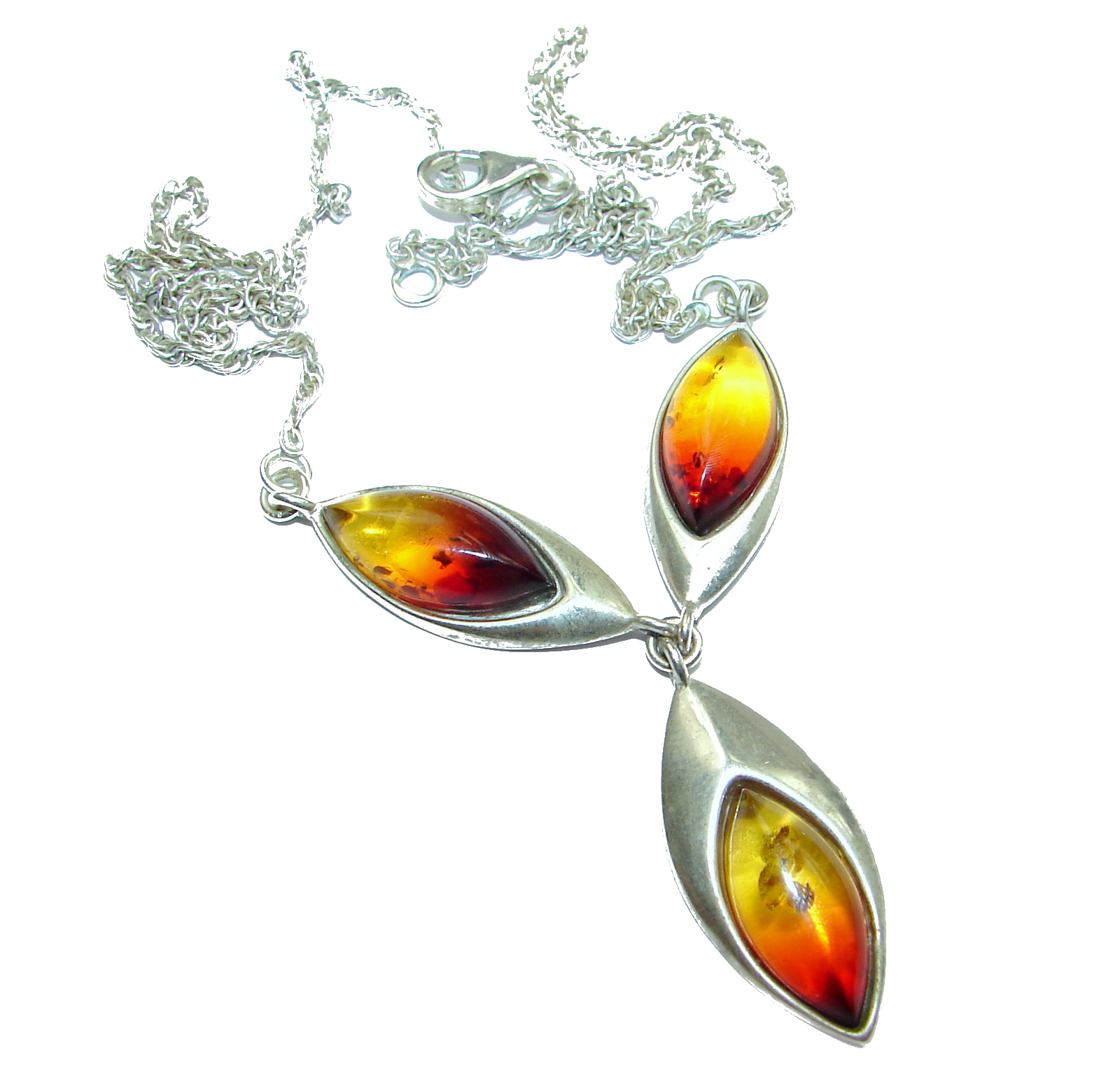 Natural Polish Amber .925 Sterling Silver handcrafted necklace
