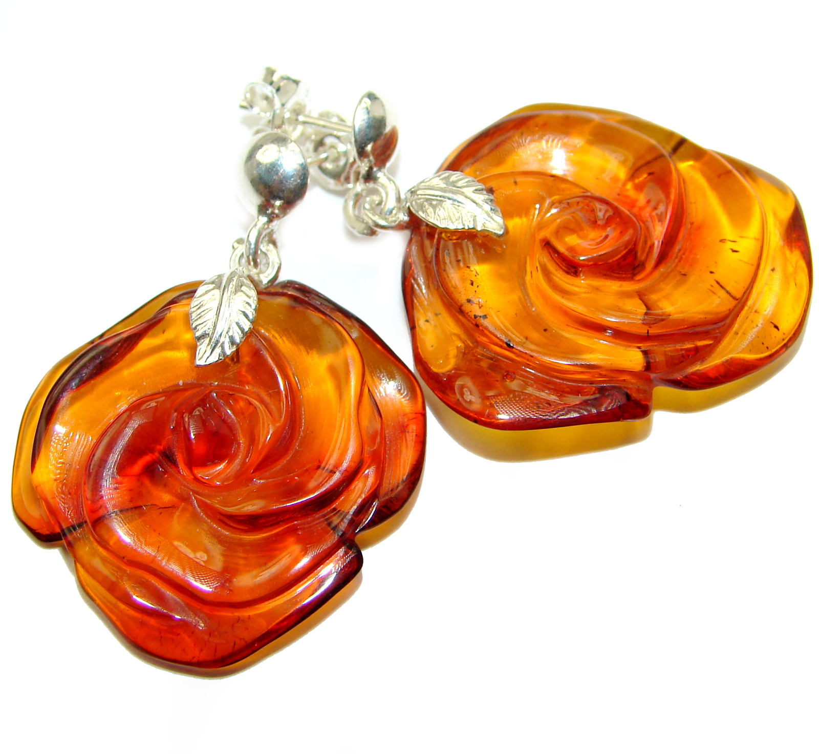 Genuine carved Roses Baltic Amber .925 Sterling Silver handcrafted Earrings