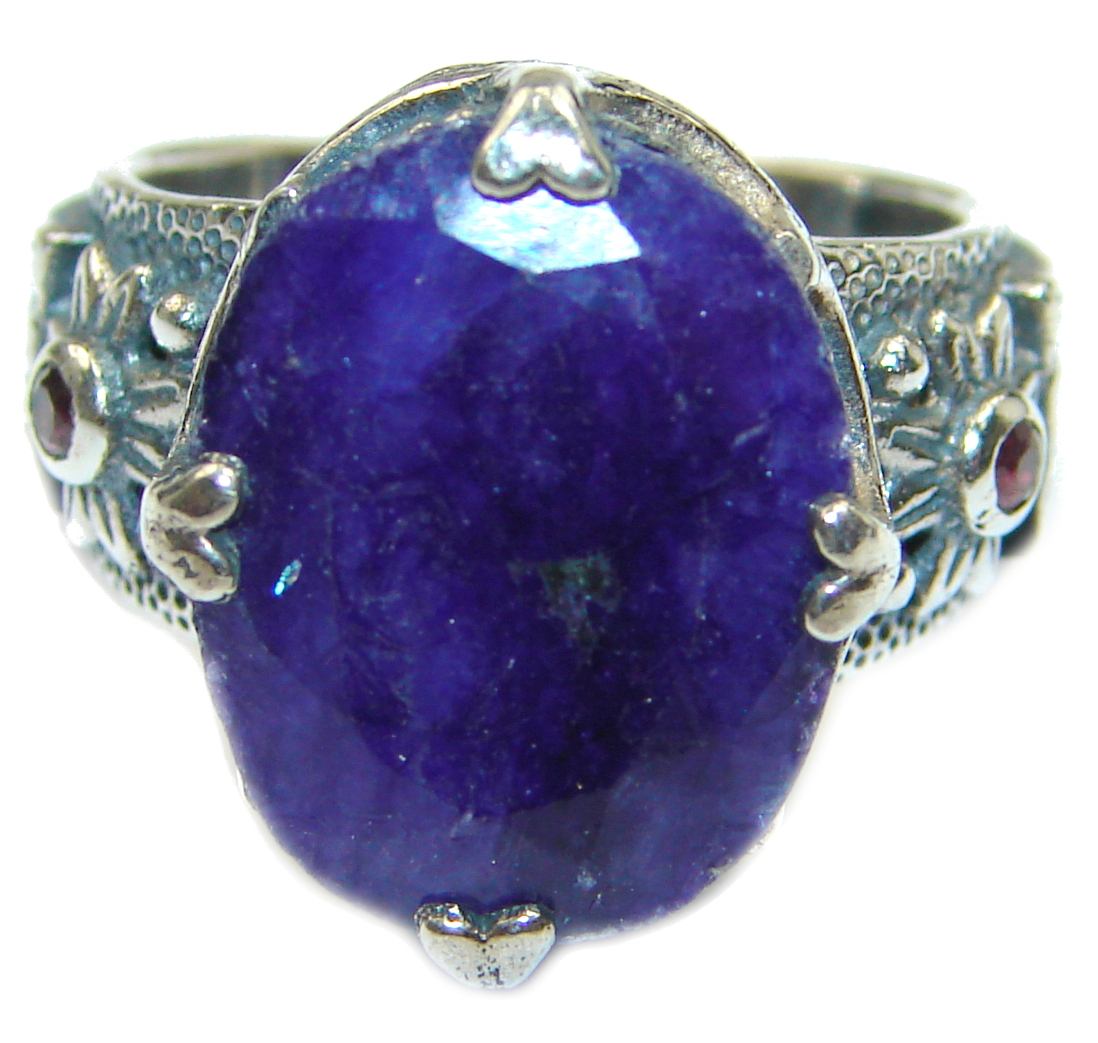 Large Vintage Style Sapphire & White Topaz Sterling Silver ring; s. 6 1/2