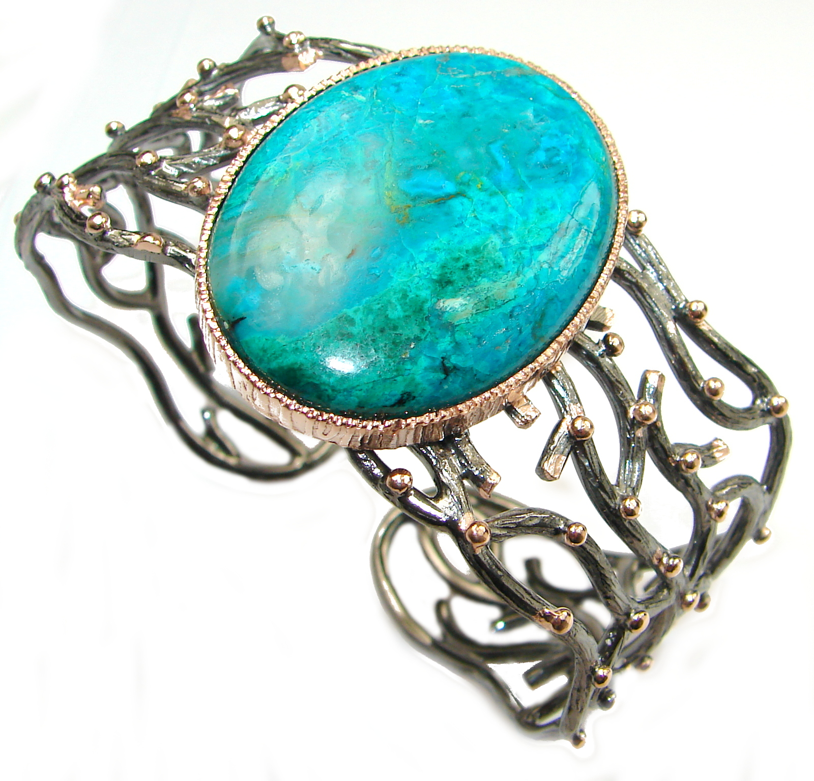 Genuine Chrysocolla Rose Gold over .925 Sterling Silver handmade Bracelet Cuff