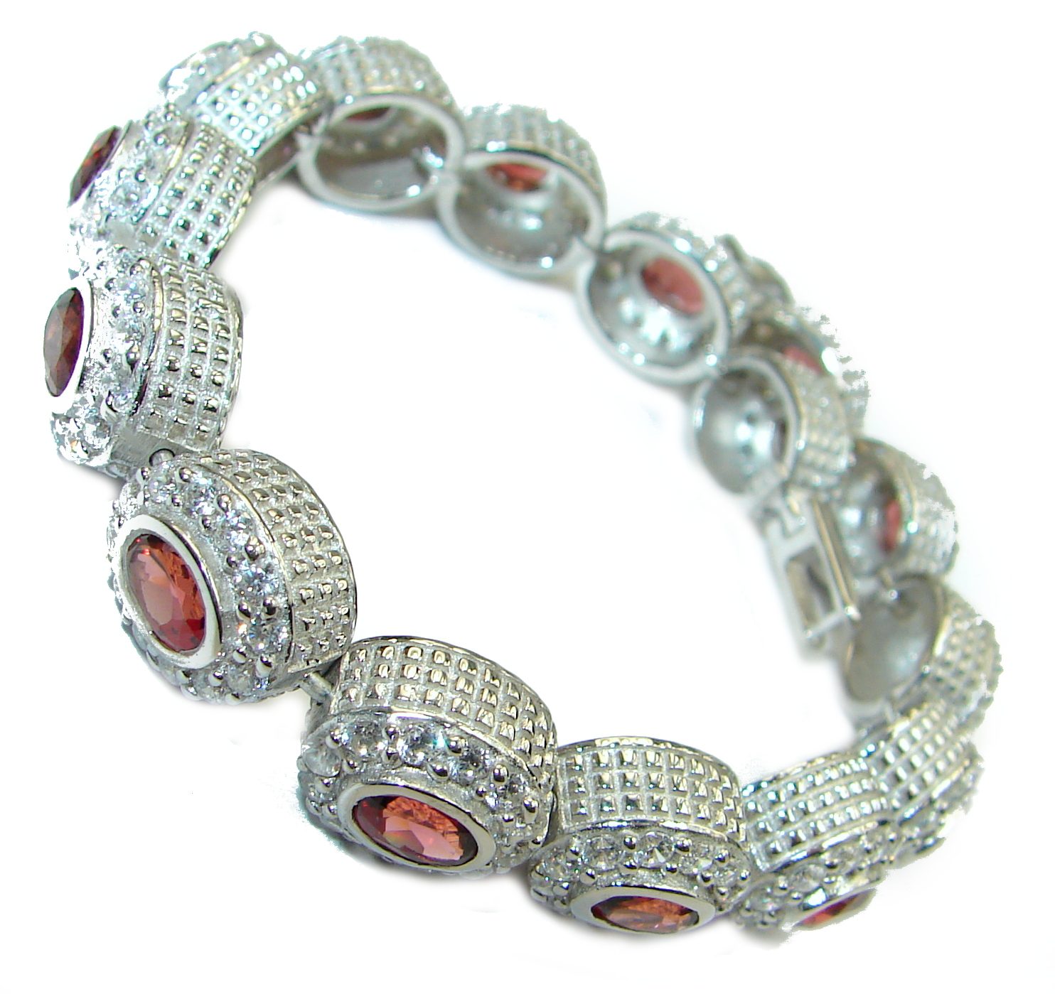 One of the kind Secret Beauty Garnet .925 Sterling Silver handcrafted Bracelet