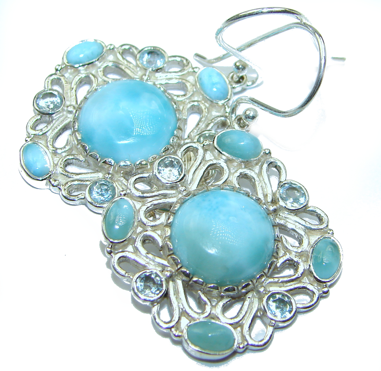 Precious genuine Blue Larimar  .925 Sterling Silver