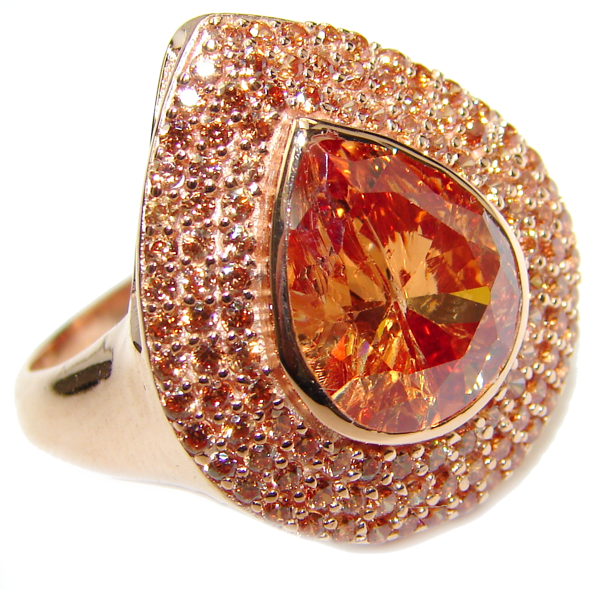Blush Morganite 14K Rose Gold over .925 Sterling Silver handcrafted ring s. 8 1/4