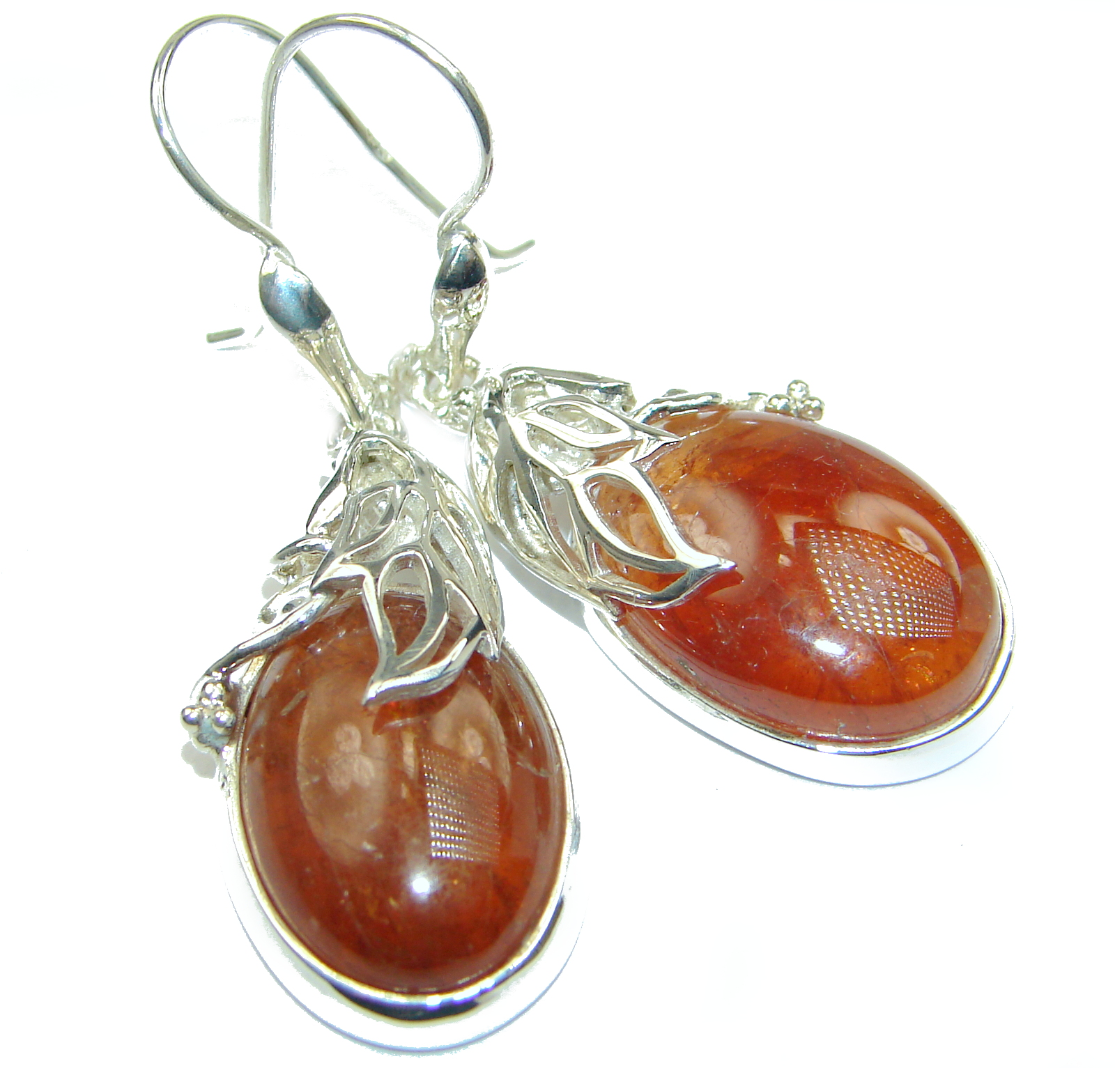 Huge Authentic Hessonite Garnet .925 Sterling Silver handmade earrings