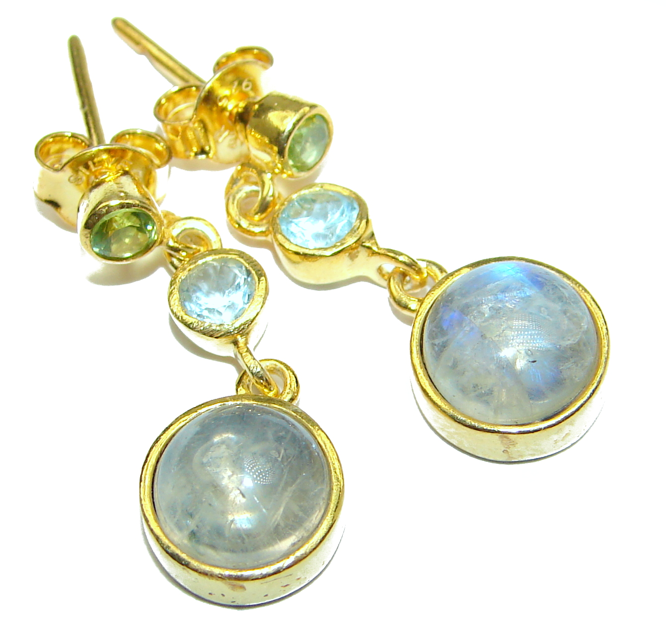 Genuine Fire Moonstone Gold plated over .925