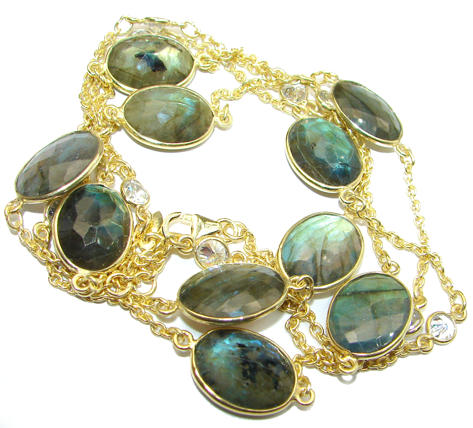 36 inches Genuine Fire Labradorite 14 K Gold over .925 Sterling Silver handmade Necklace